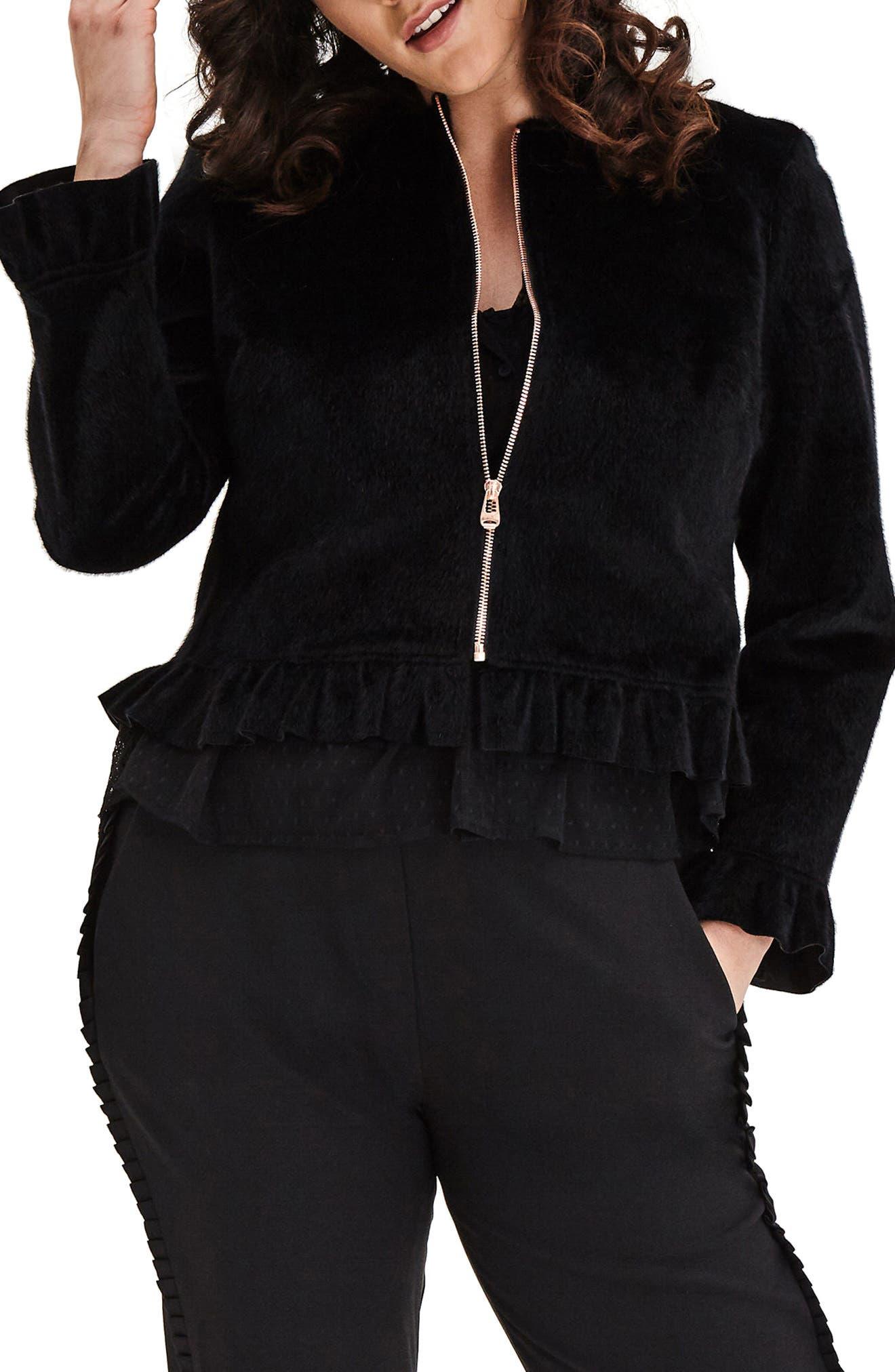 Faux Fur Jacket,                             Main thumbnail 1, color,                             Black
