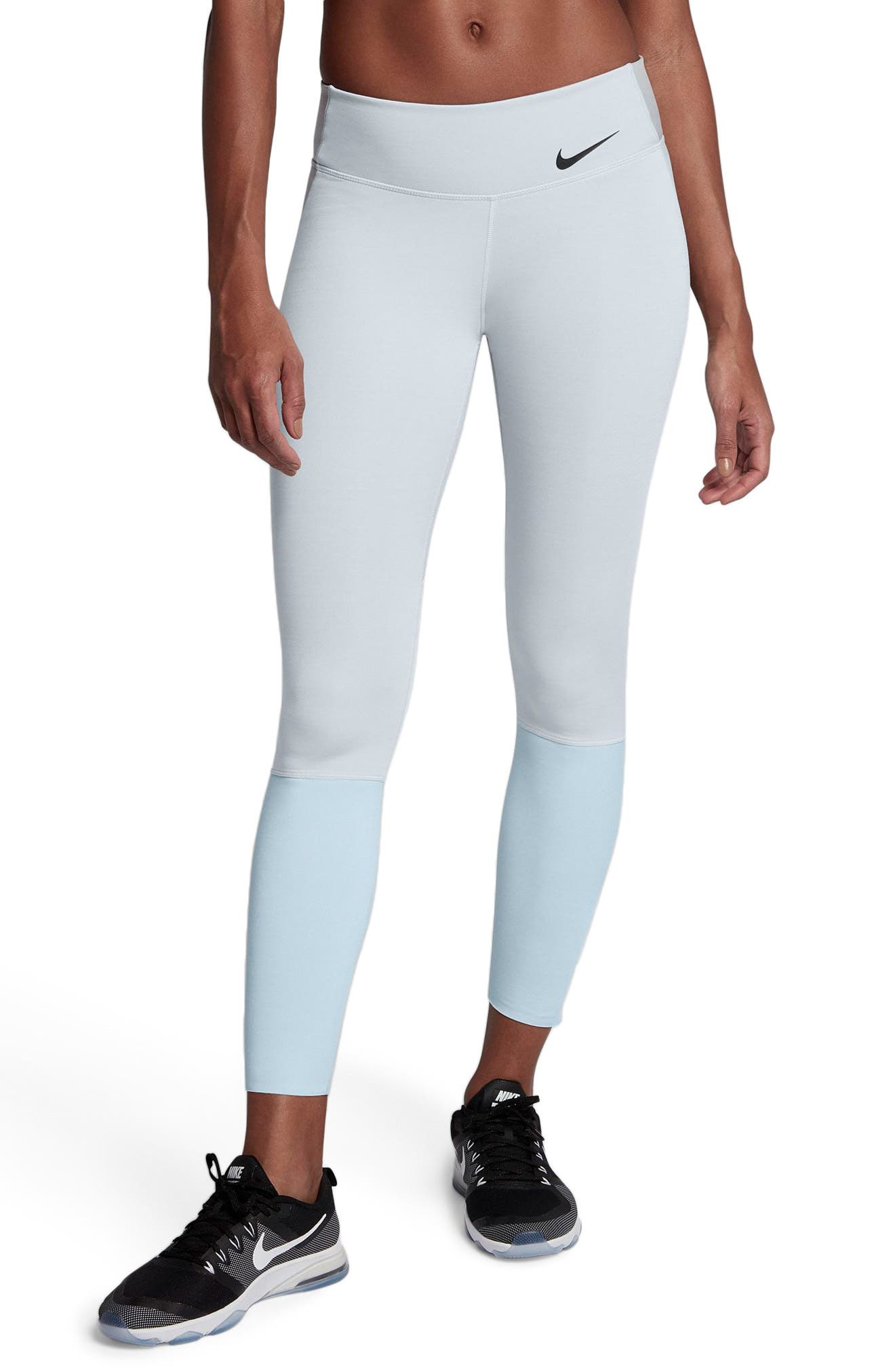 Legendary Mid Rise Zip Cuff Training Tights,                         Main,                         color, Platinum/ Heather/ Blue/ Black