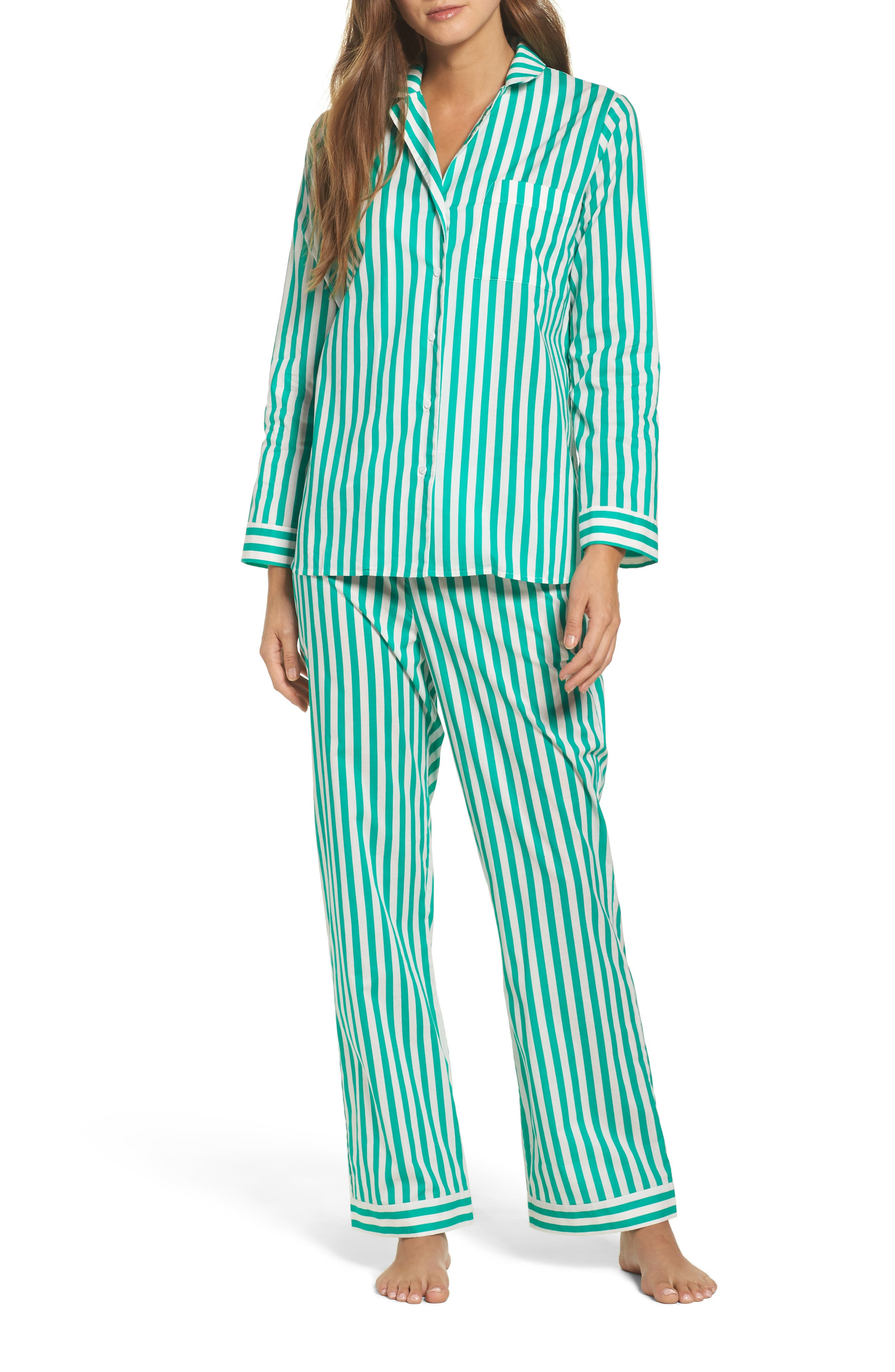 Classic Stripe Cotton Pajamas,                         Main,                         color, Havana Stripes- Emerald
