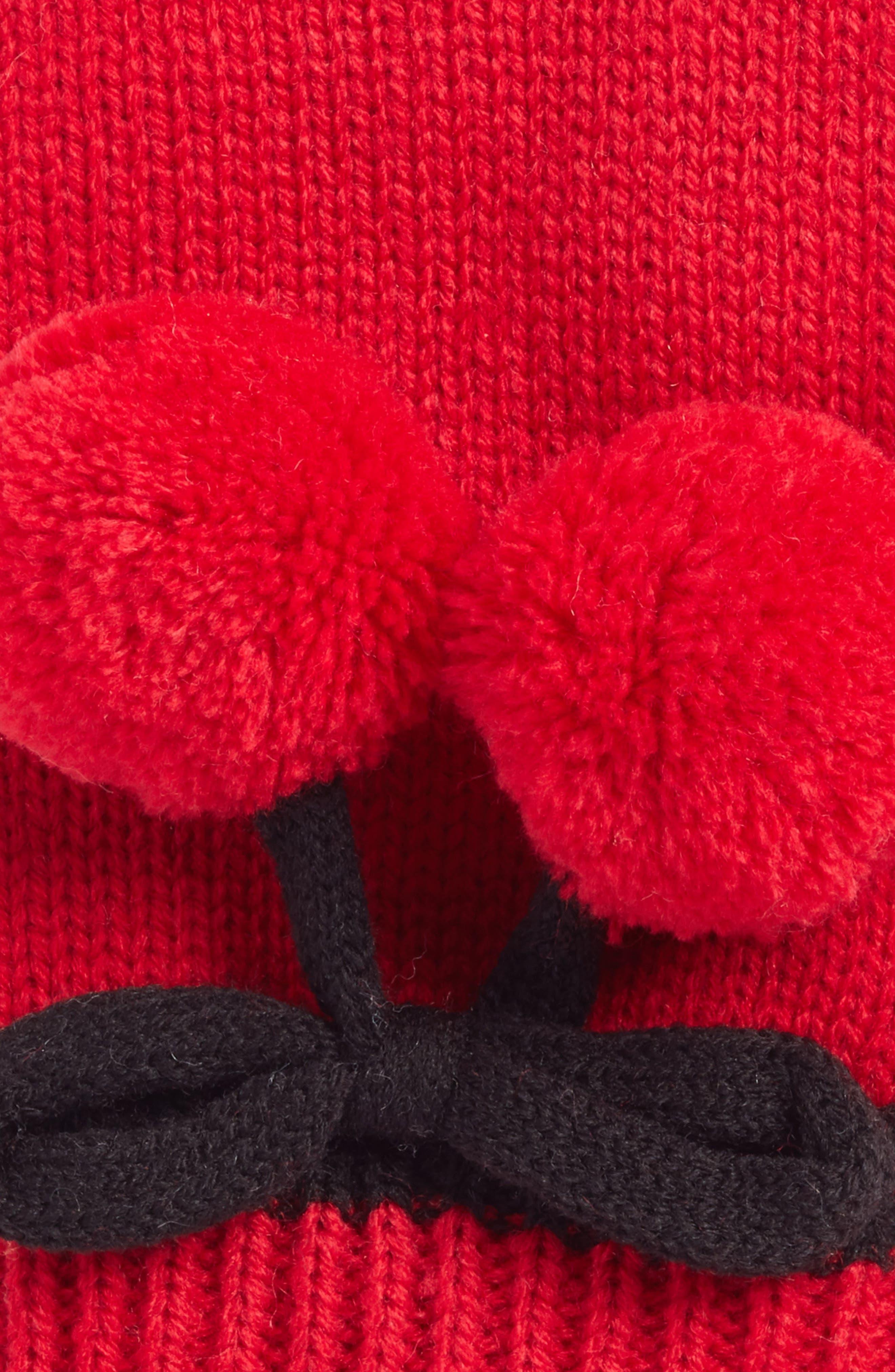 bow pom gloves,                             Alternate thumbnail 2, color,                             Charm Red