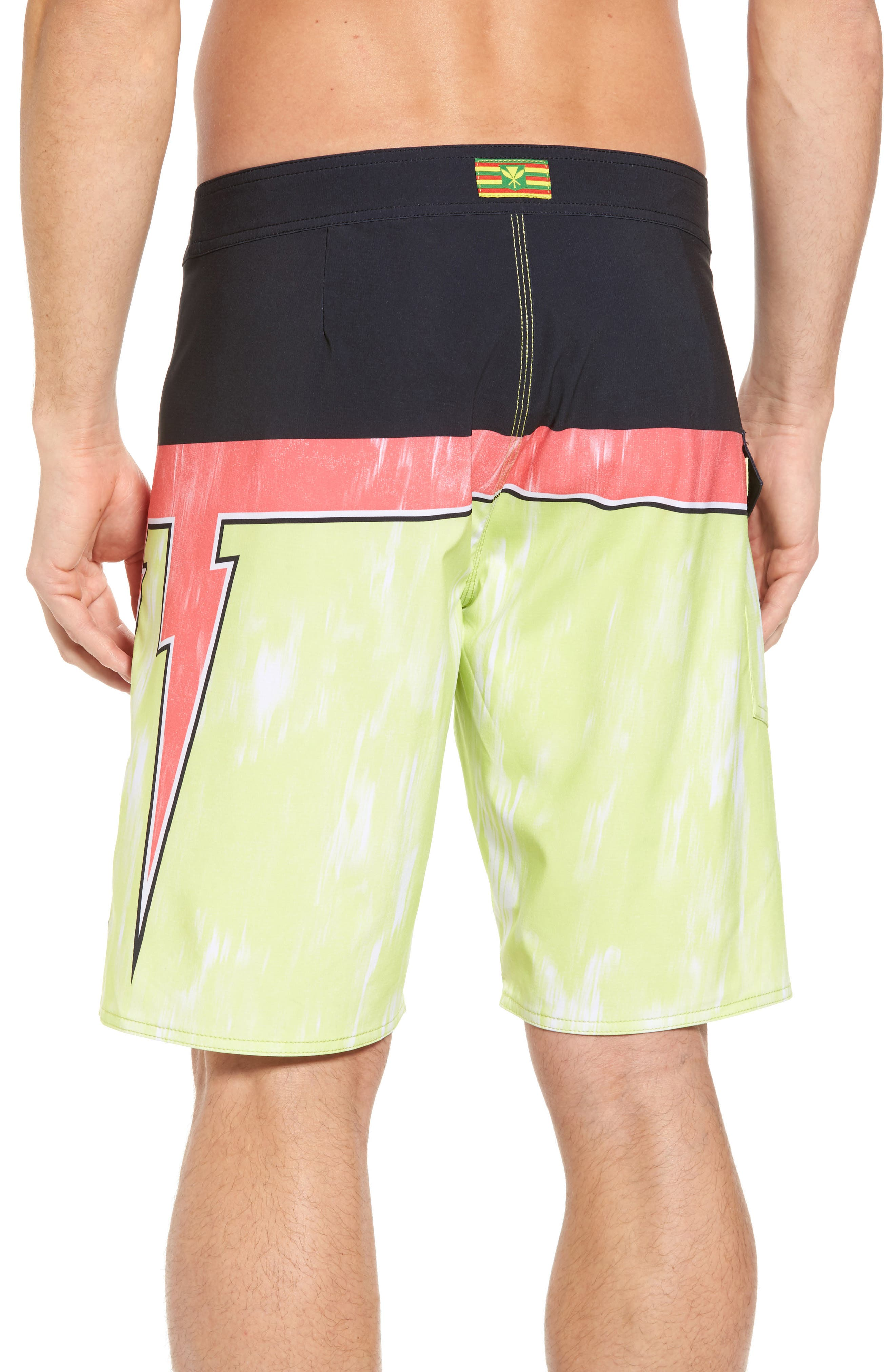 Makua Bolt Board Shorts,                             Alternate thumbnail 2, color,                             Yellow Fade