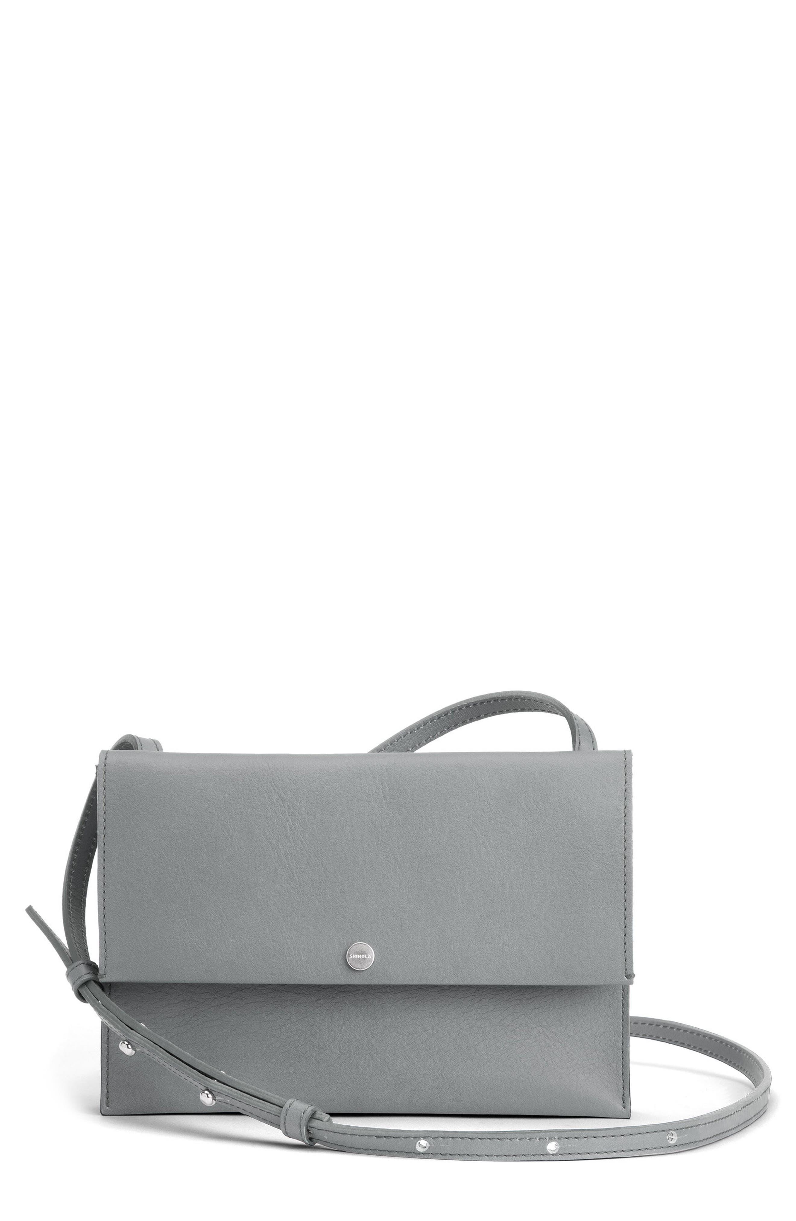 Crossbody Leather Bag,                             Main thumbnail 1, color,                             Cool Grey