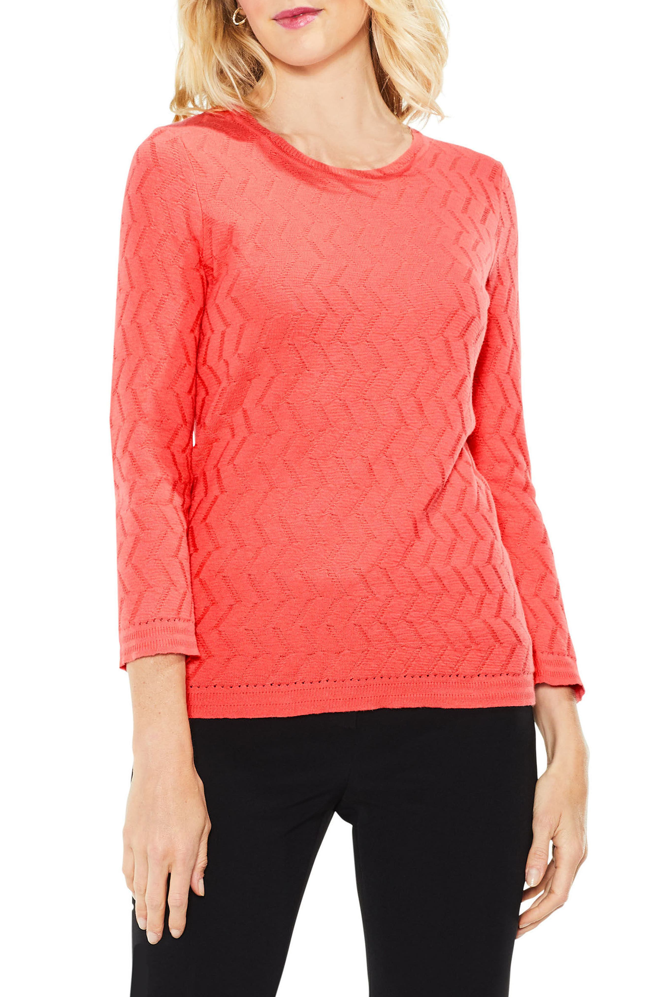 Vince Camuto Textured Stitch Sweater (Regular & Petite)