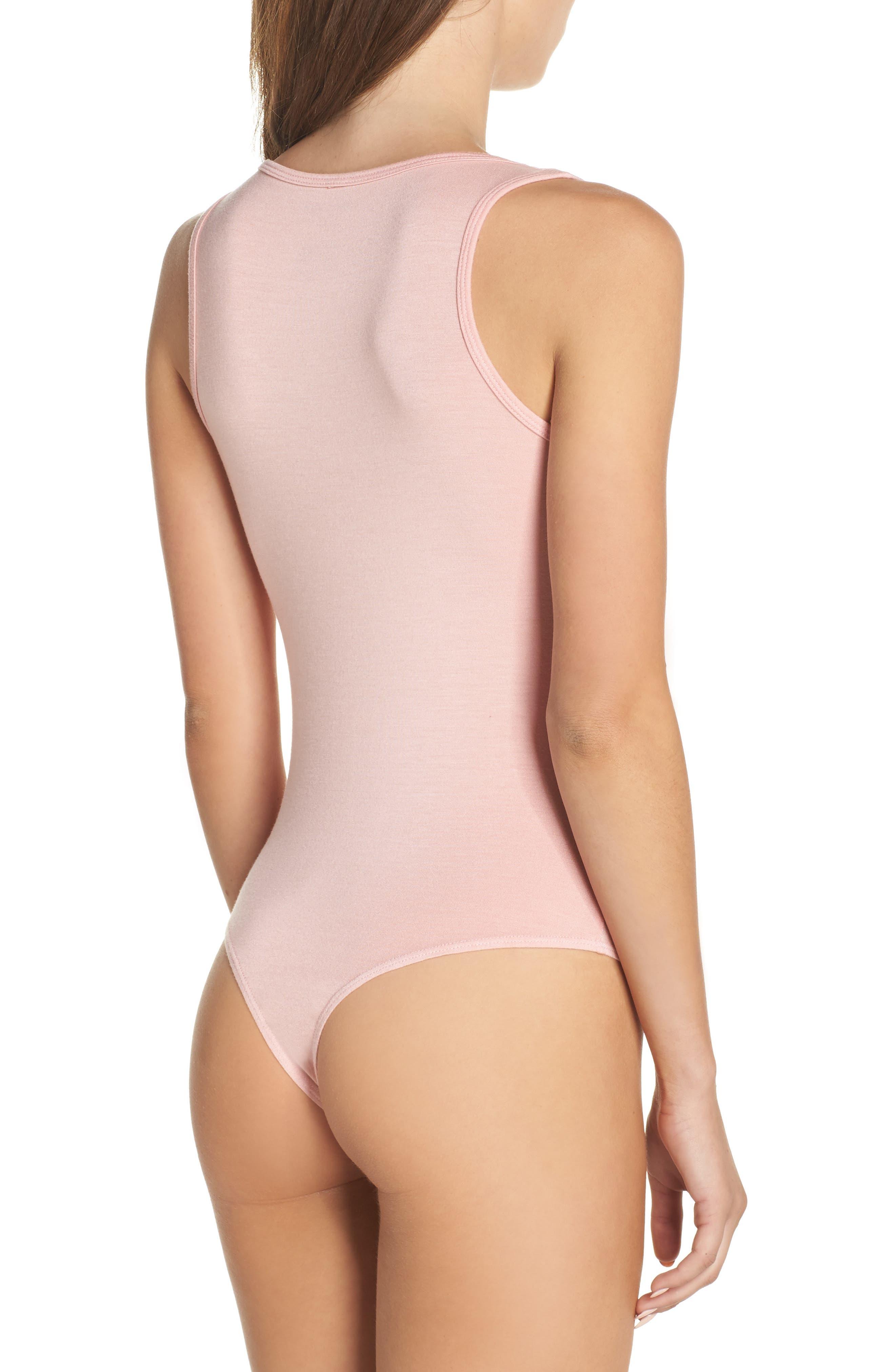 Jenny V-Neck Thong Bodysuit,                             Alternate thumbnail 2, color,                             Dream Pink