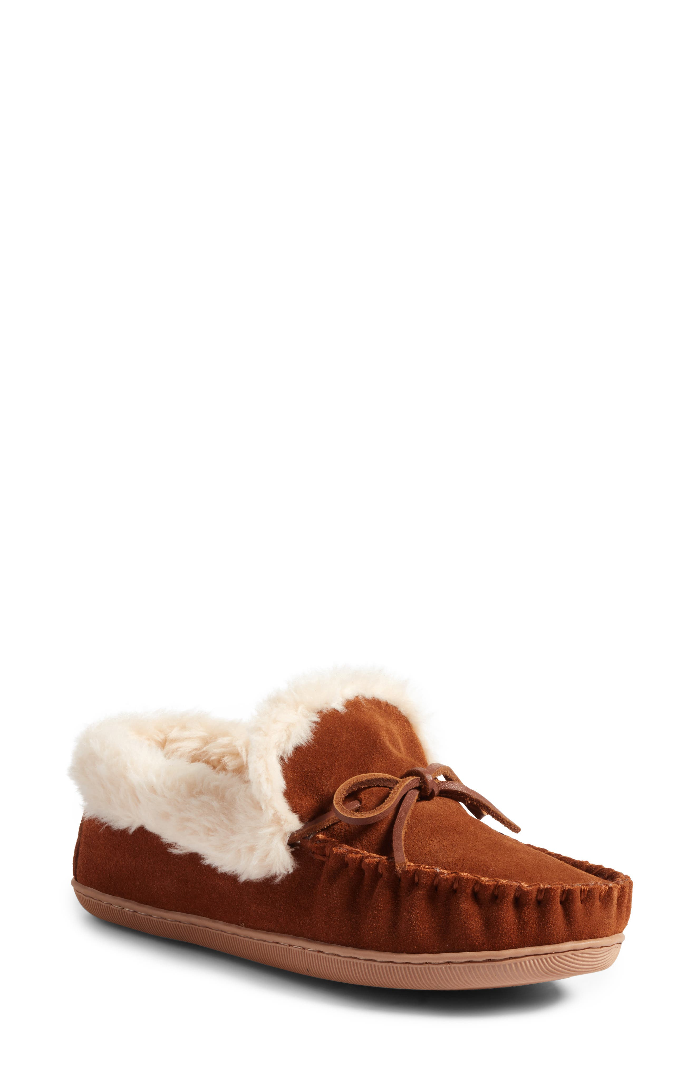 J.Crew Lodge Faux Shearling Moc Slipper,                             Main thumbnail 1, color,                             Dark Nutmeg Suede