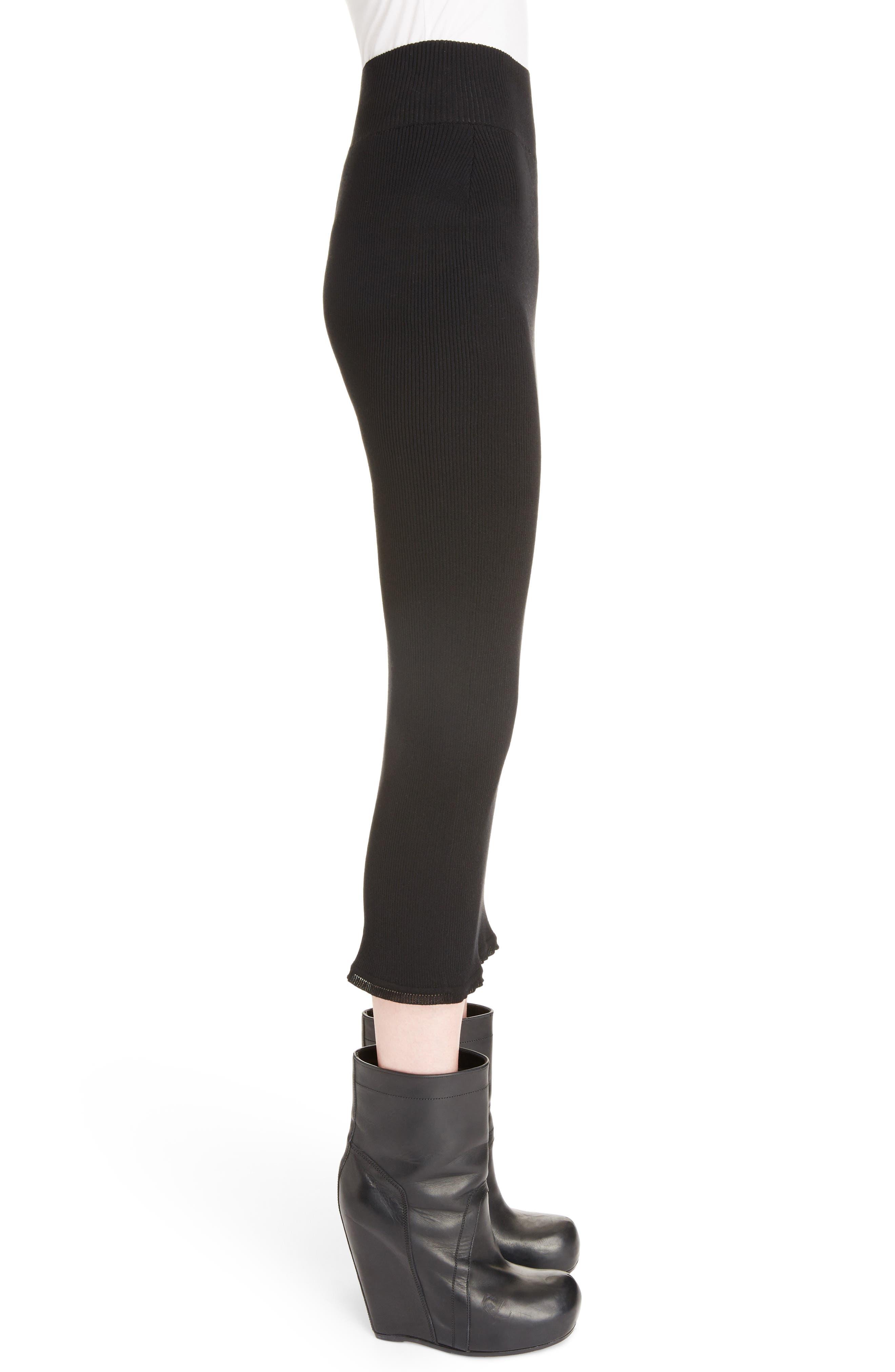 Stretch Knit Midi Skirt,                             Alternate thumbnail 3, color,                             Black