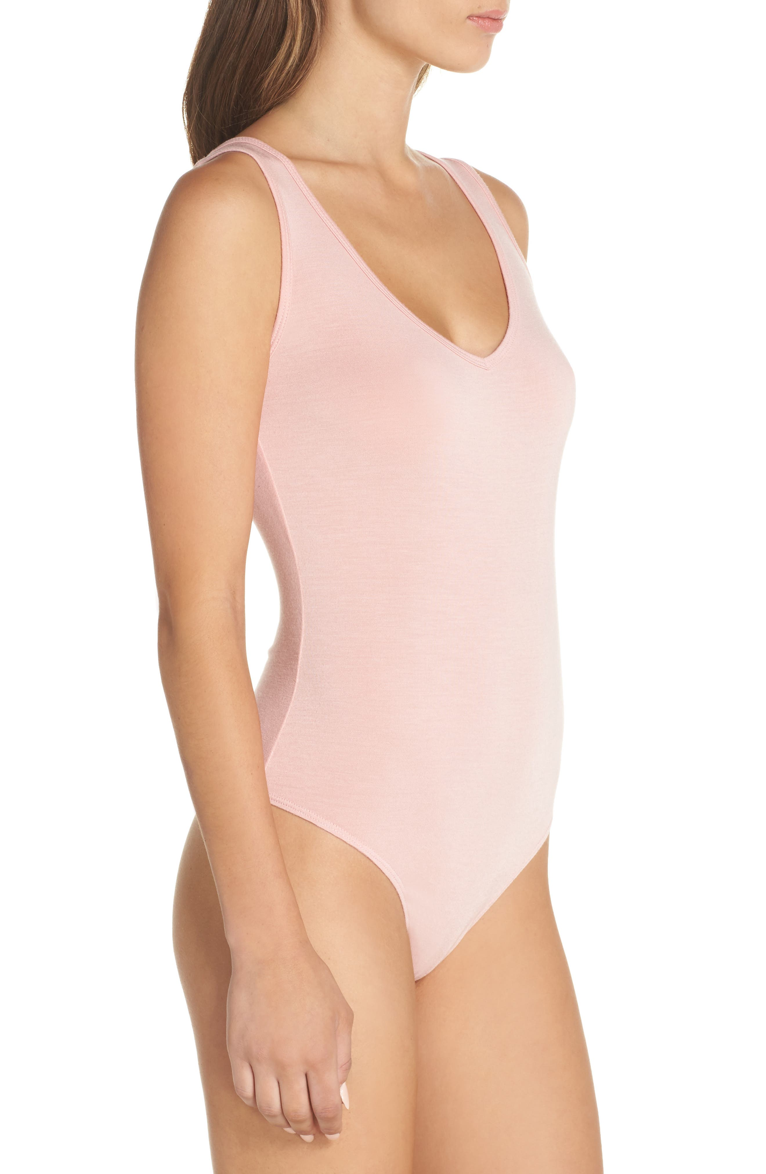 Jenny V-Neck Thong Bodysuit,                             Alternate thumbnail 3, color,                             Dream Pink