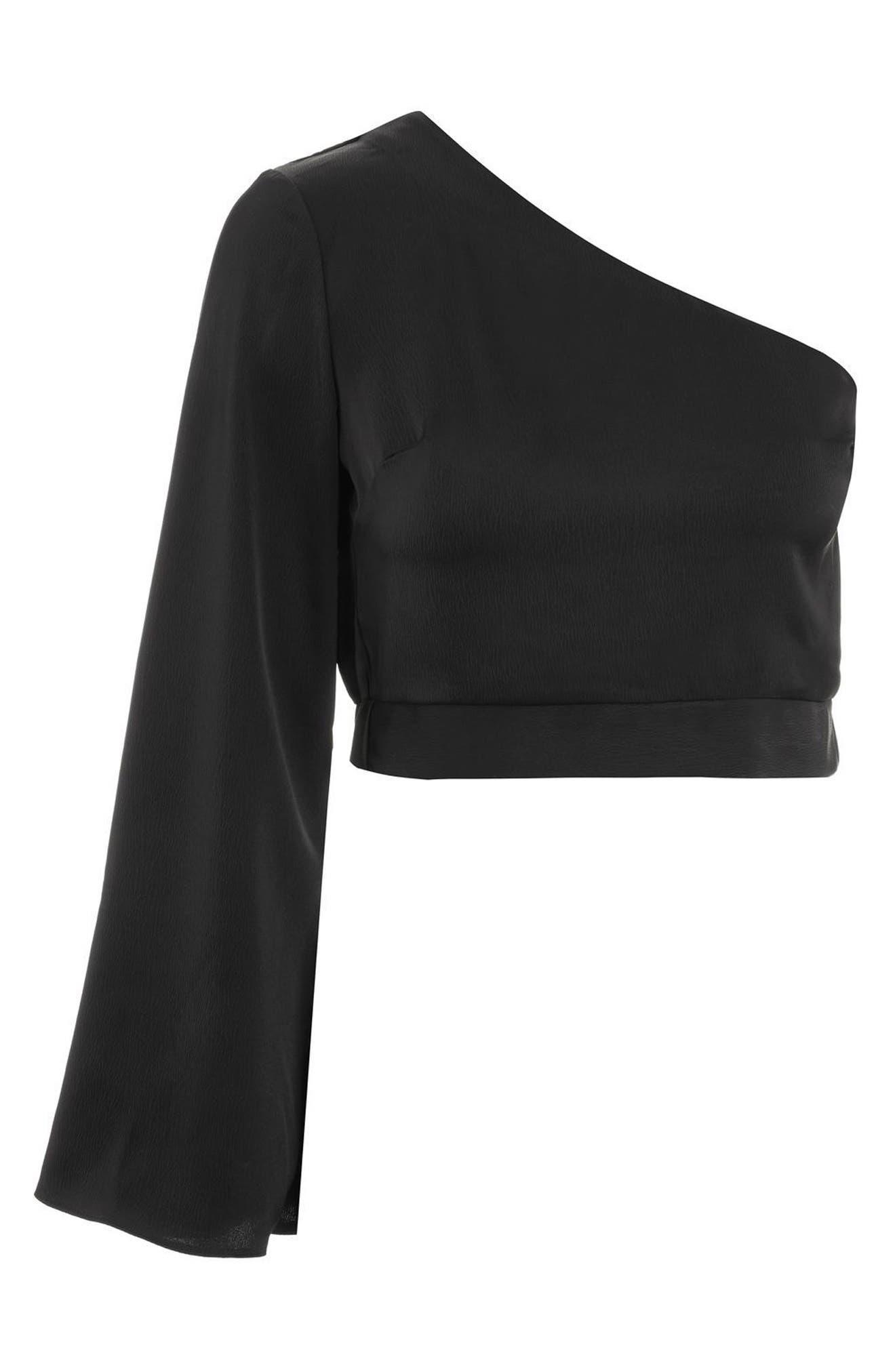 Satin One-Shoulder Blouse,                             Alternate thumbnail 4, color,                             Black