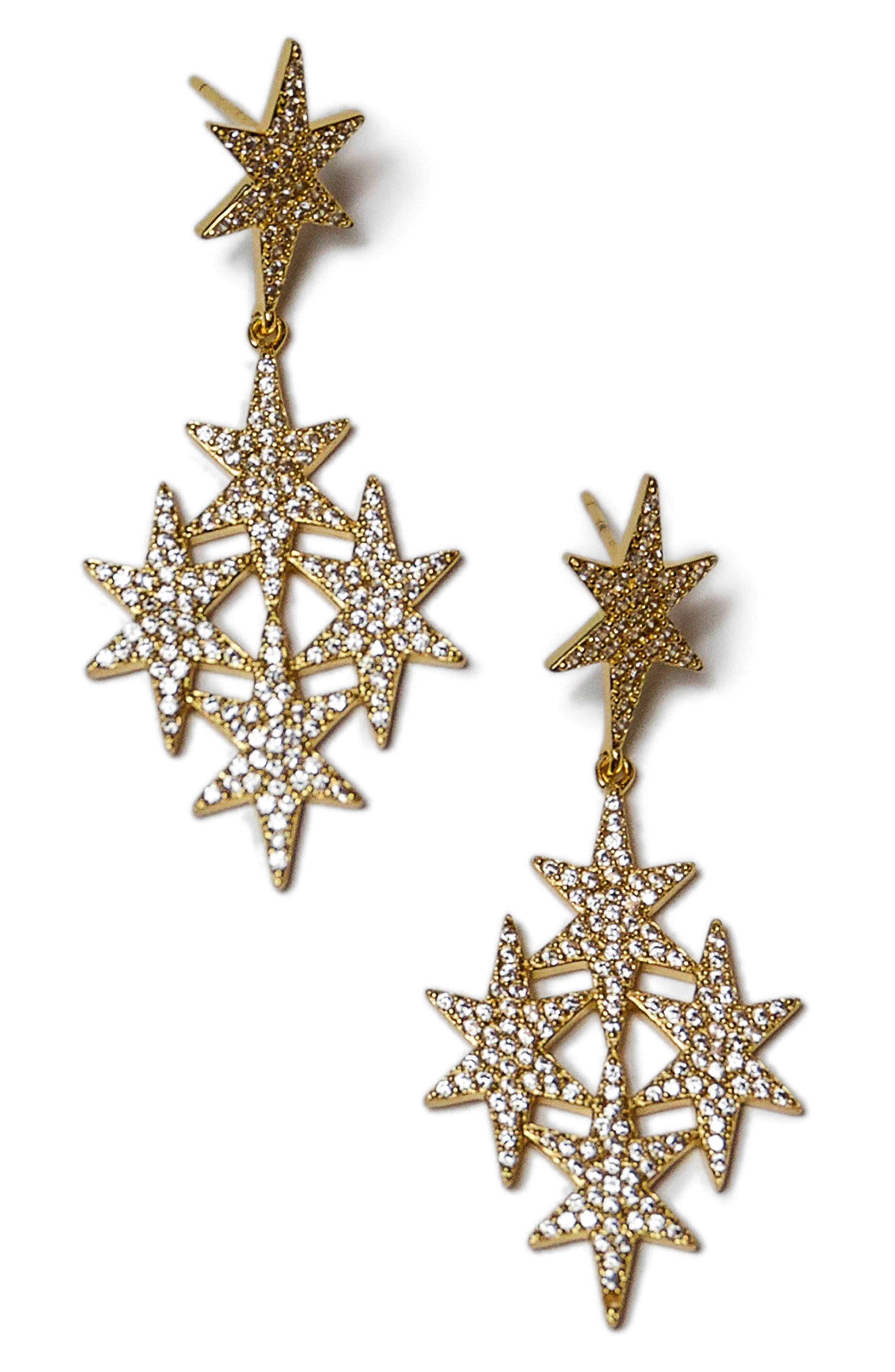 North Star Drop Earrings,                         Main,                         color, Gold