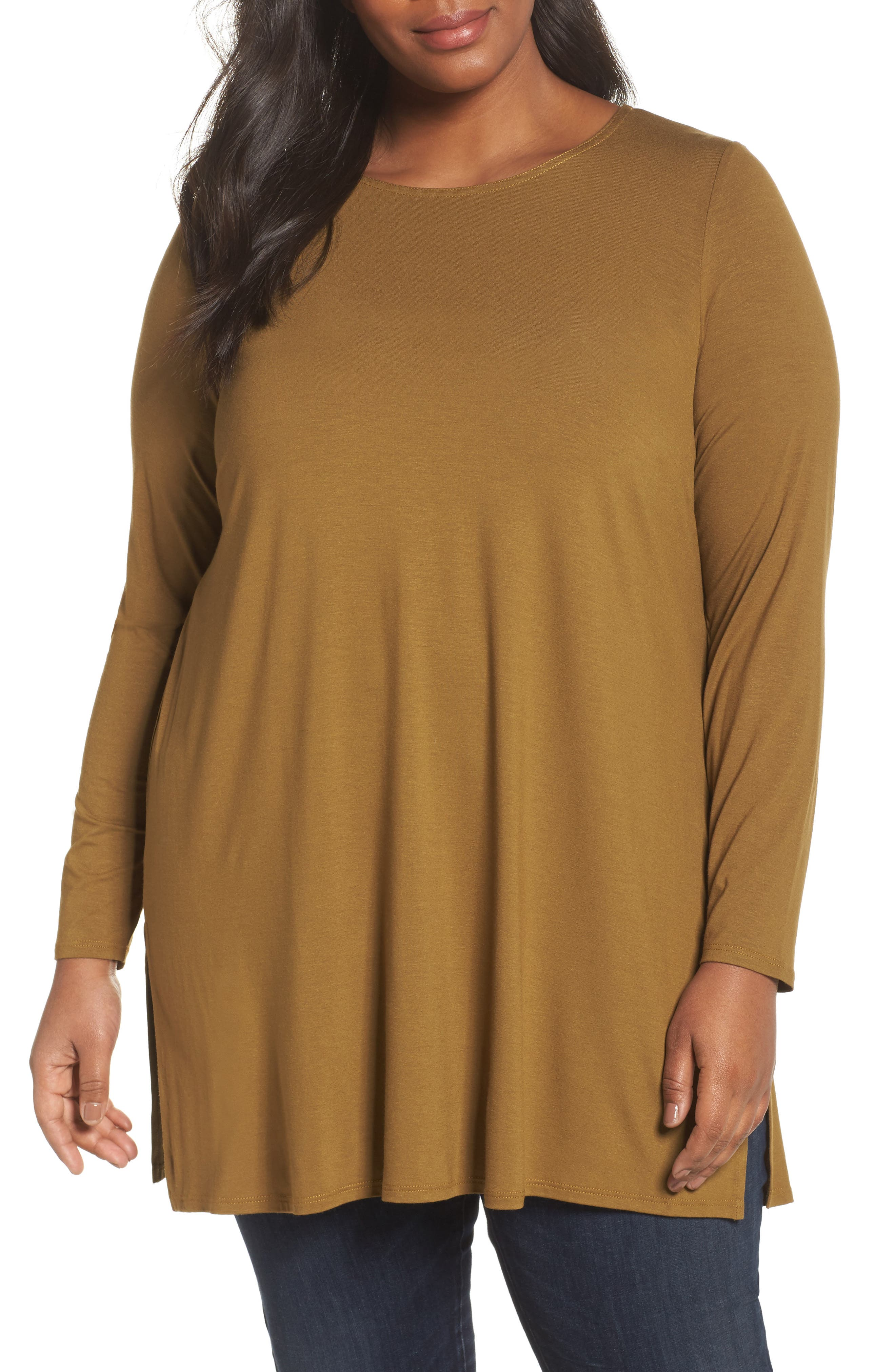 Alternate Image 1 Selected - Eileen Fisher Round Neck Jersey Tunic (Plus Size)