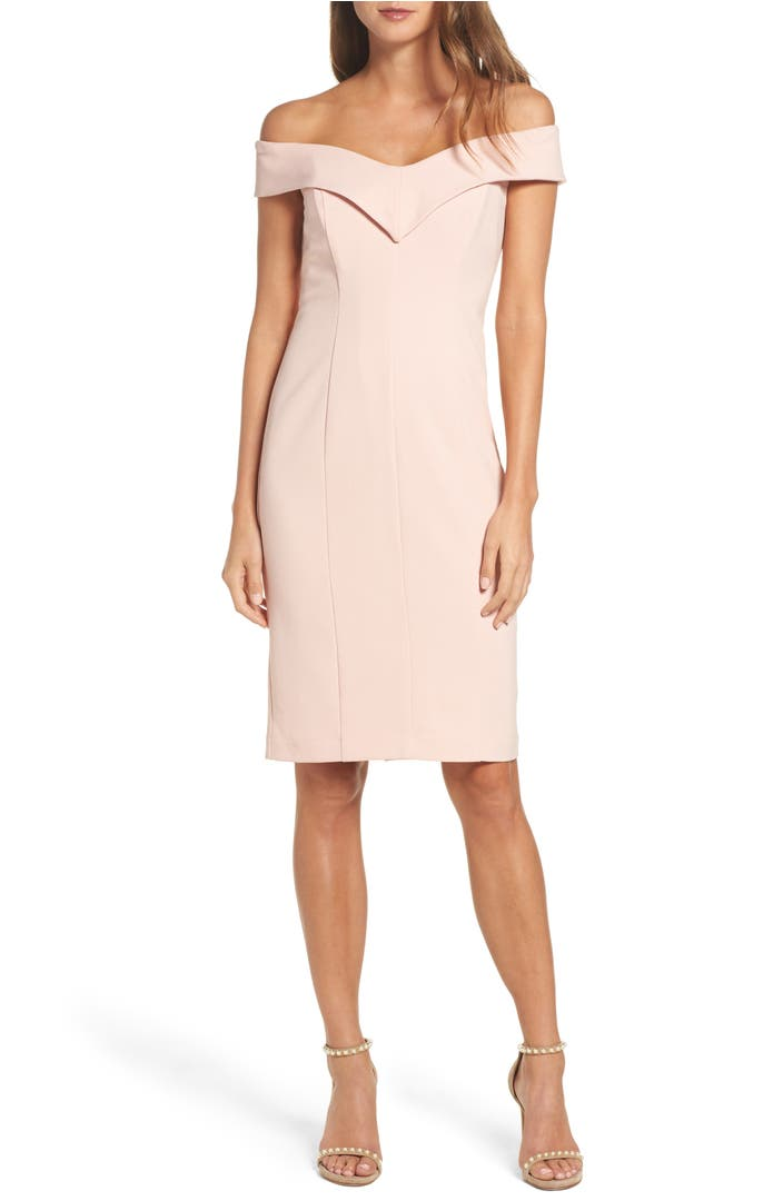Main Image - Eliza J Portrait Collar Sheath Dress (Regular & Petite)