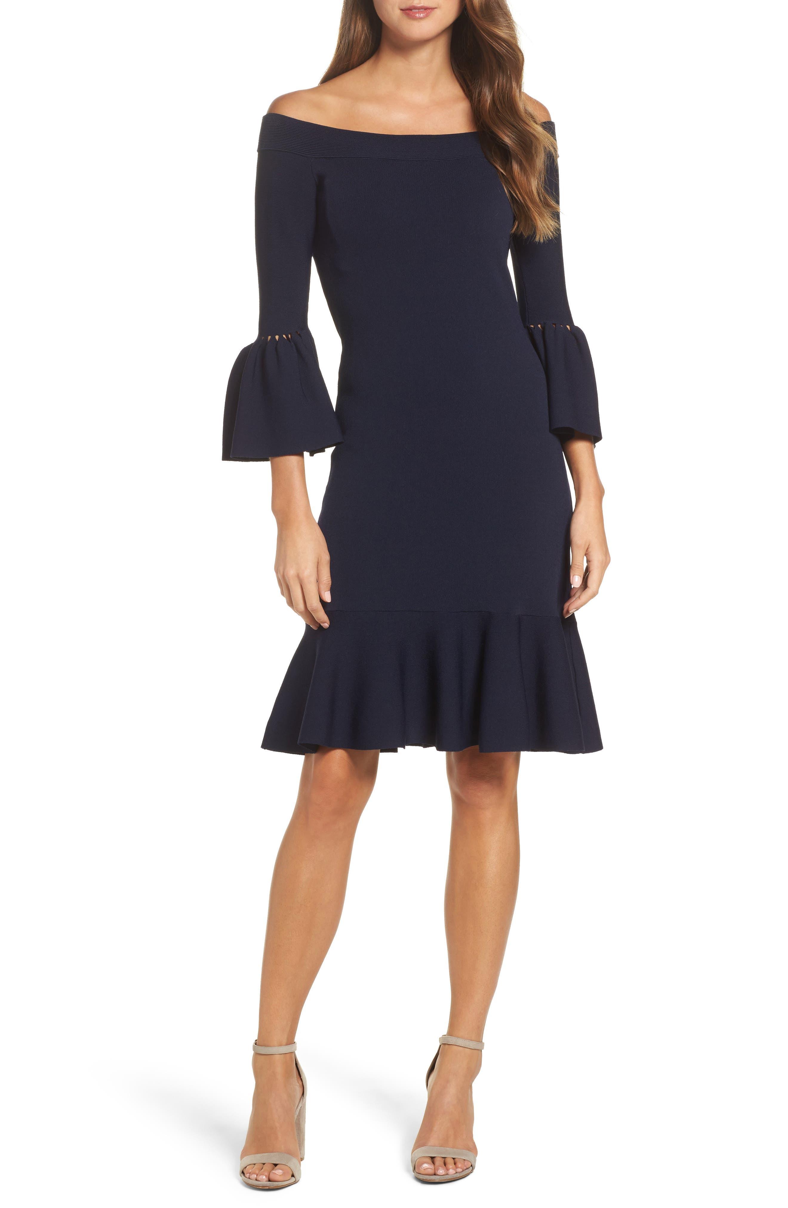 Off the Shoulder Flare Hem Dress,                         Main,                         color, Navy