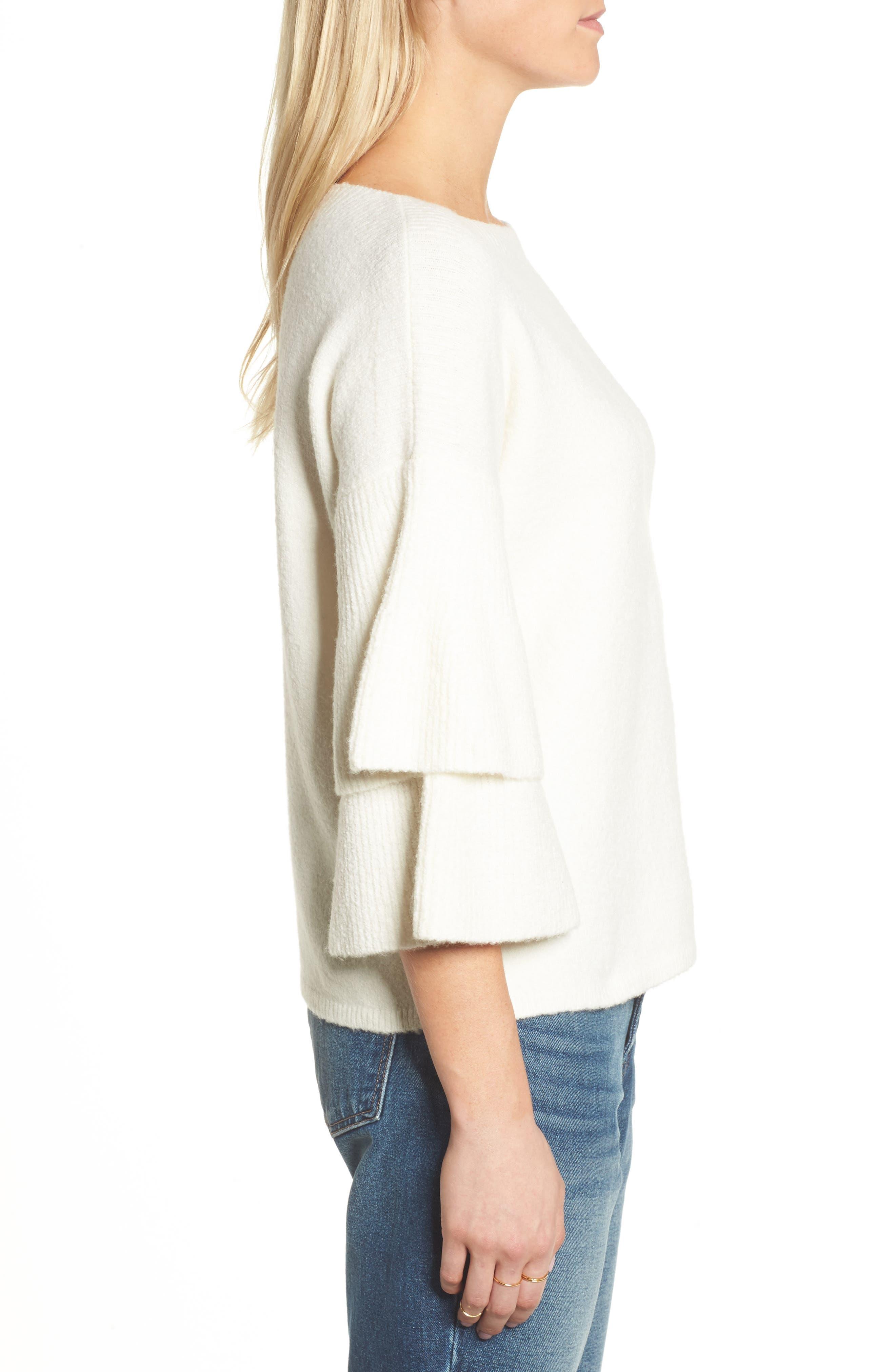 Tier Sleeve Sweater,                             Alternate thumbnail 3, color,                             Antique Cream