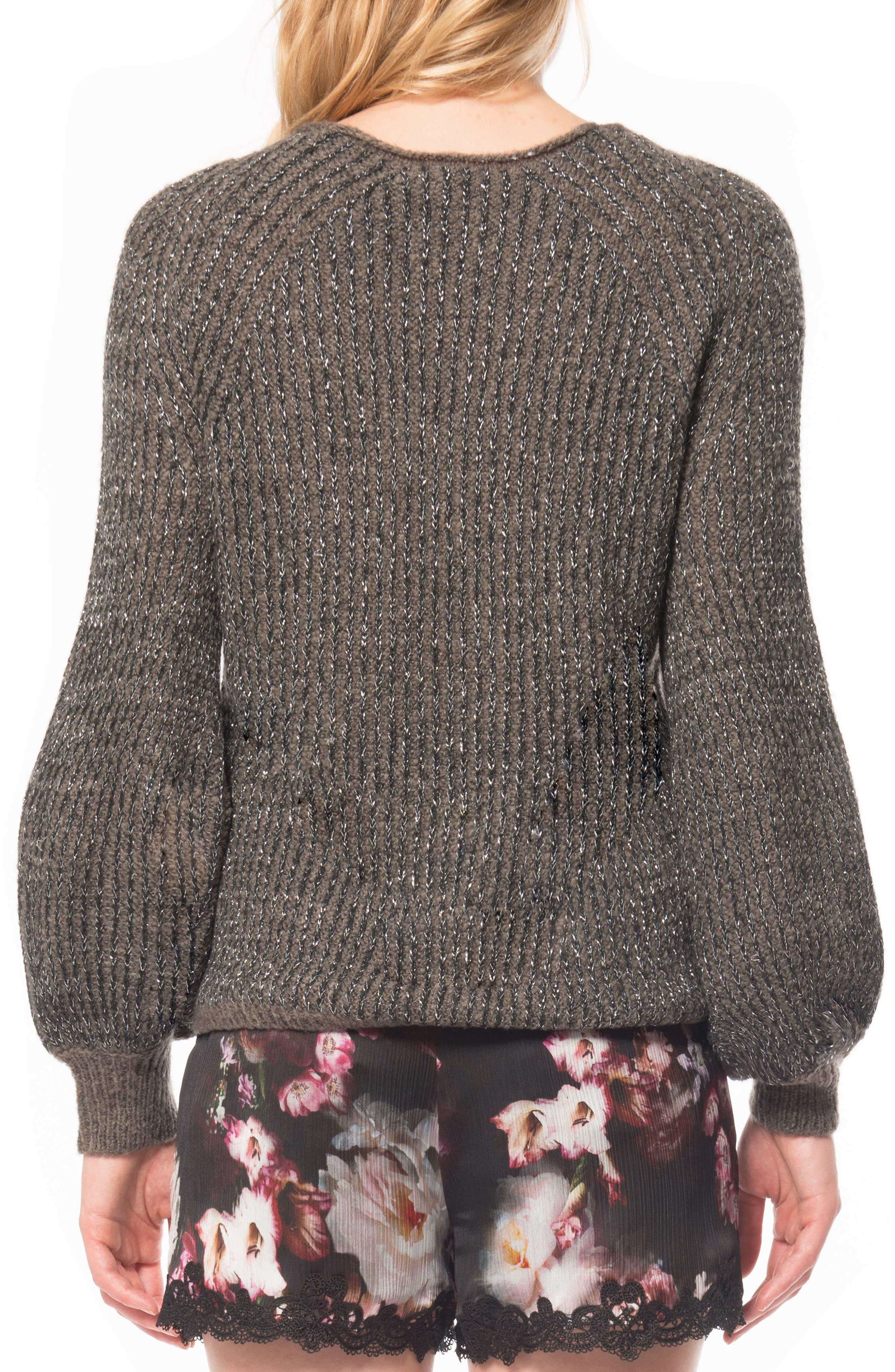 Puffed Sleeve Sweater,                             Alternate thumbnail 2, color,                             Gunmetal