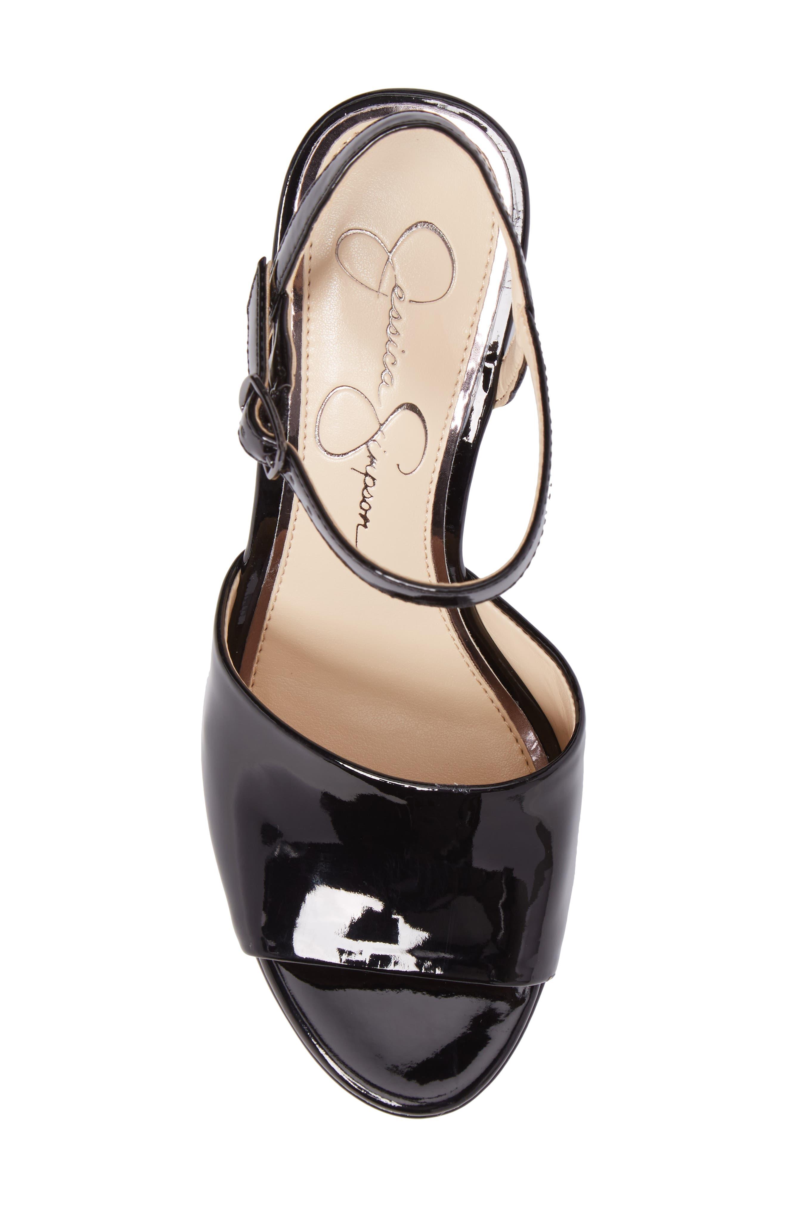 Kerrick Platform Sandal,                             Alternate thumbnail 5, color,                             Black Patent Leather