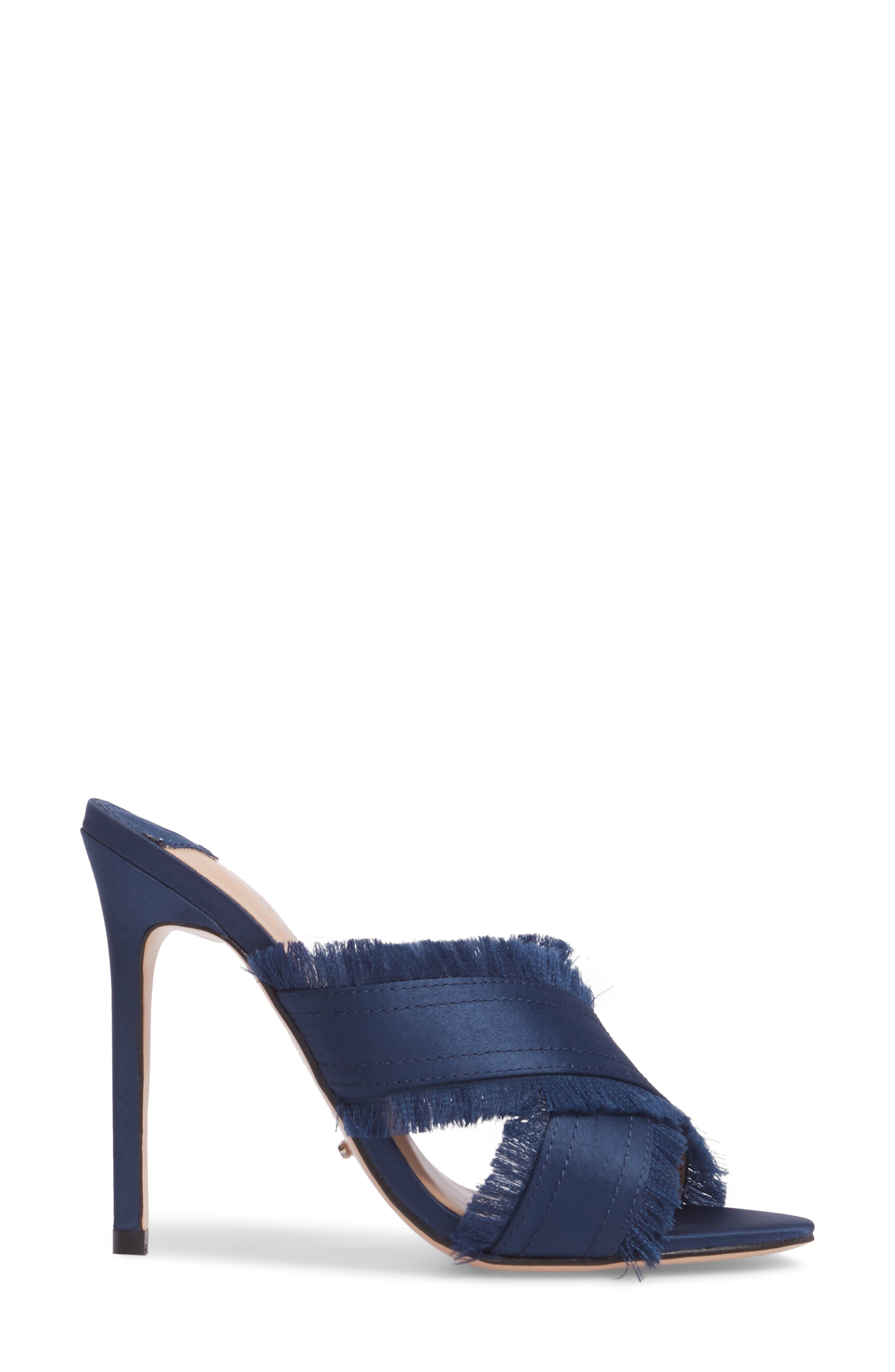 Klay Fringed Cross Strap Mule,                             Alternate thumbnail 3, color,                             Navy Luxe Satin