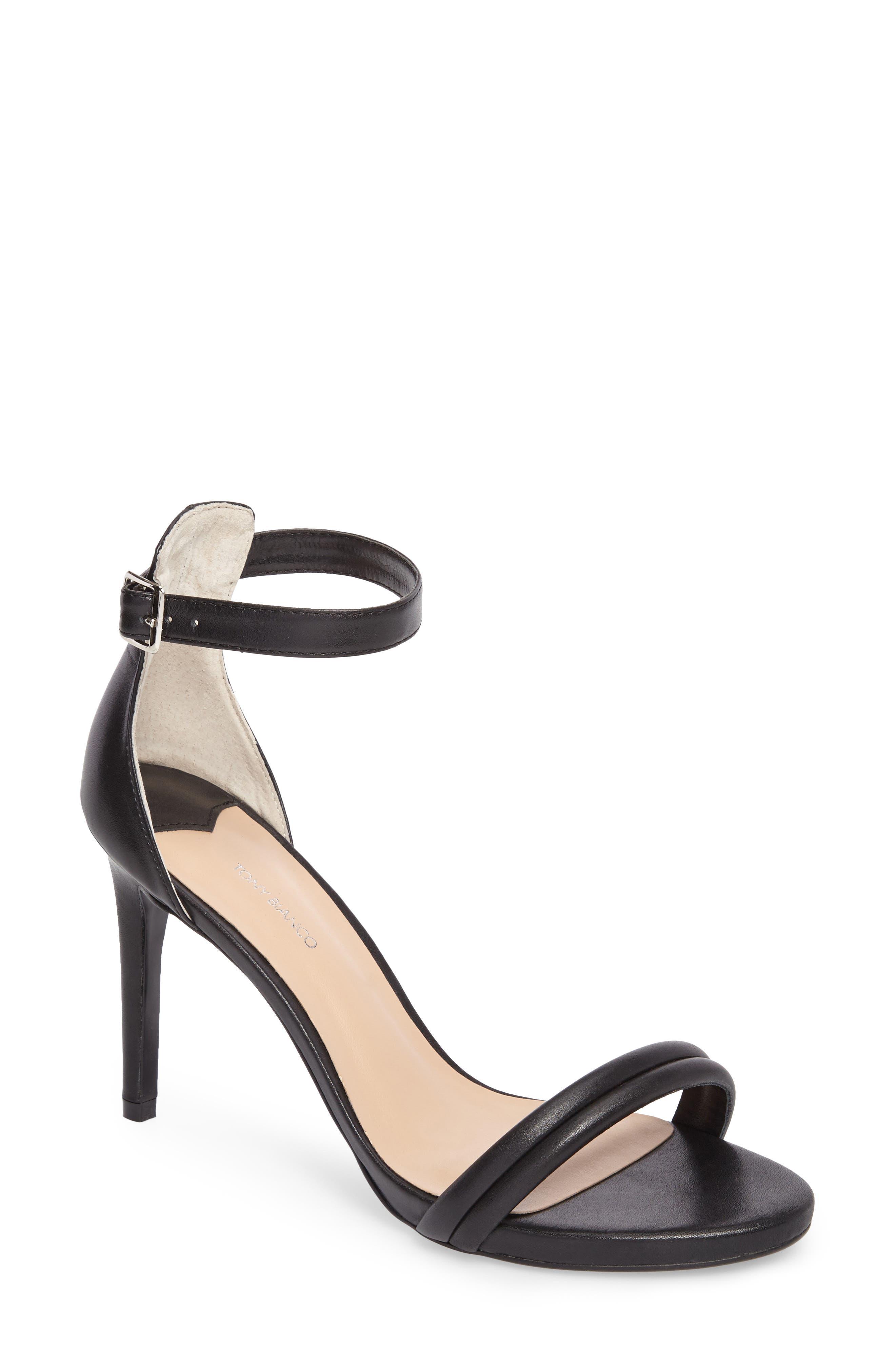 Camila Strappy Sandal,                             Main thumbnail 1, color,                             Black Capretto Leather
