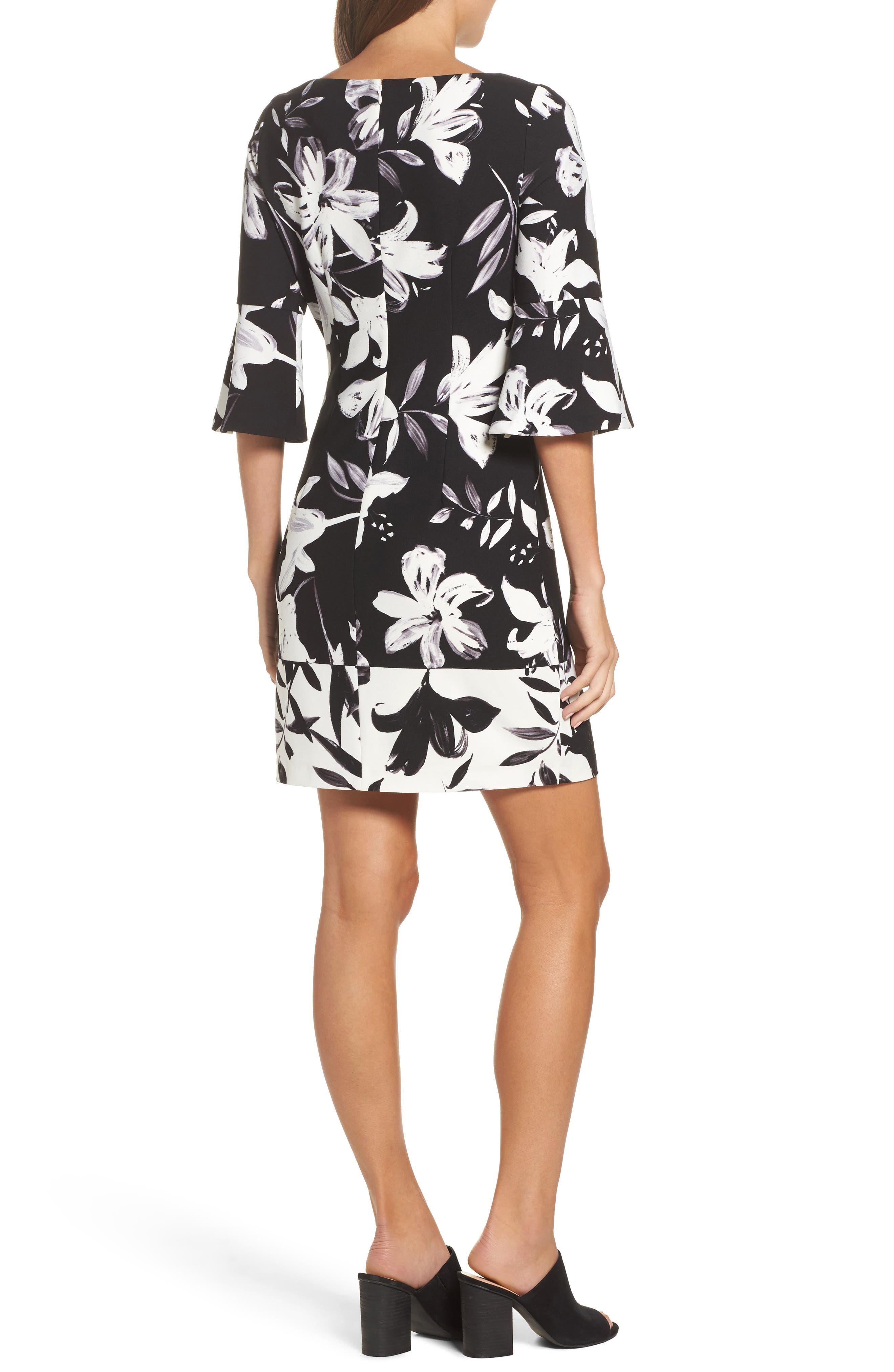 Flare Sleeve Shift Dress,                             Alternate thumbnail 2, color,                             Black/ Ivory
