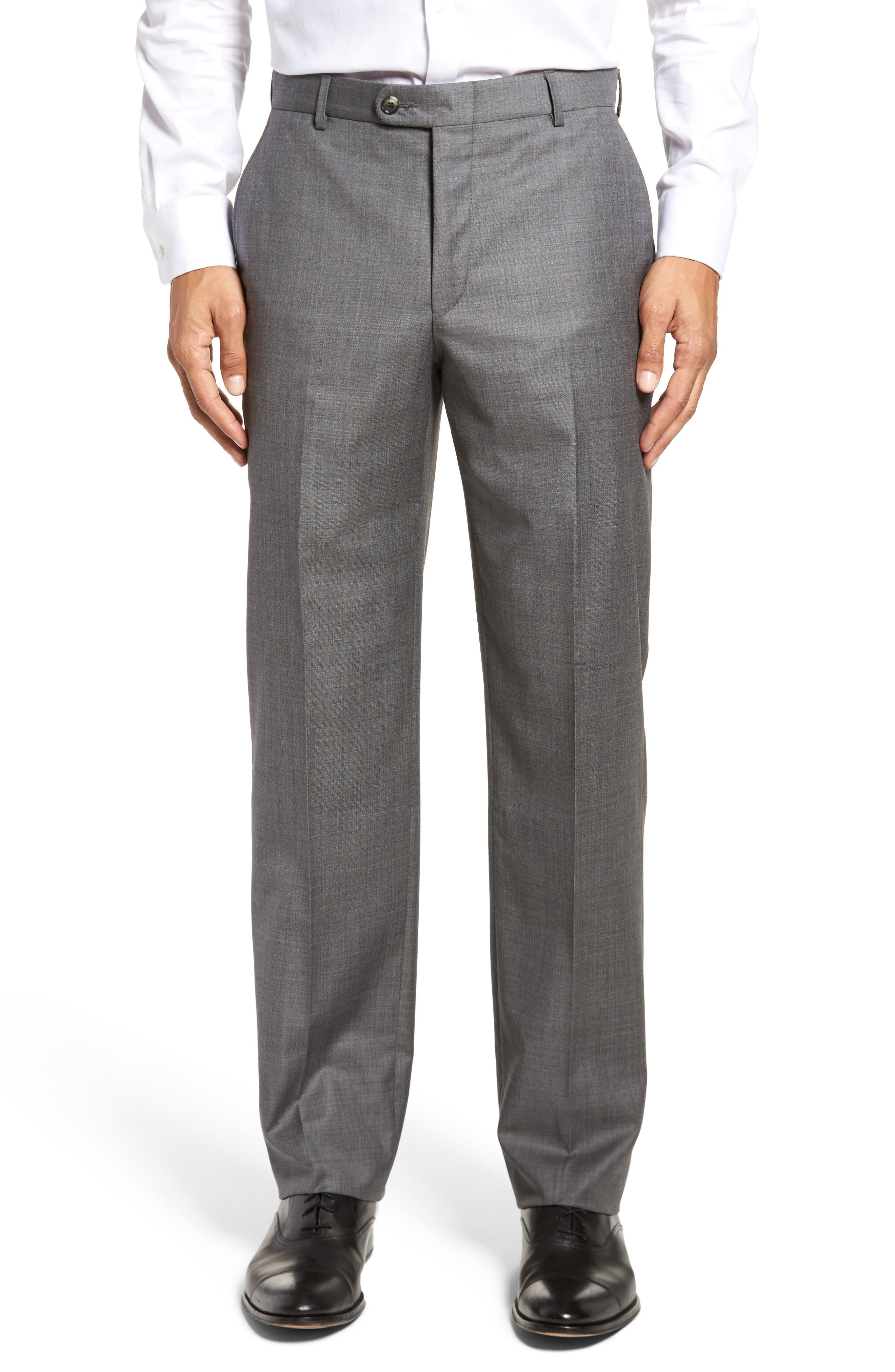 Classic B Fit Flat Front Solid Wool Trousers,                         Main,                         color, Grey Sharkskin