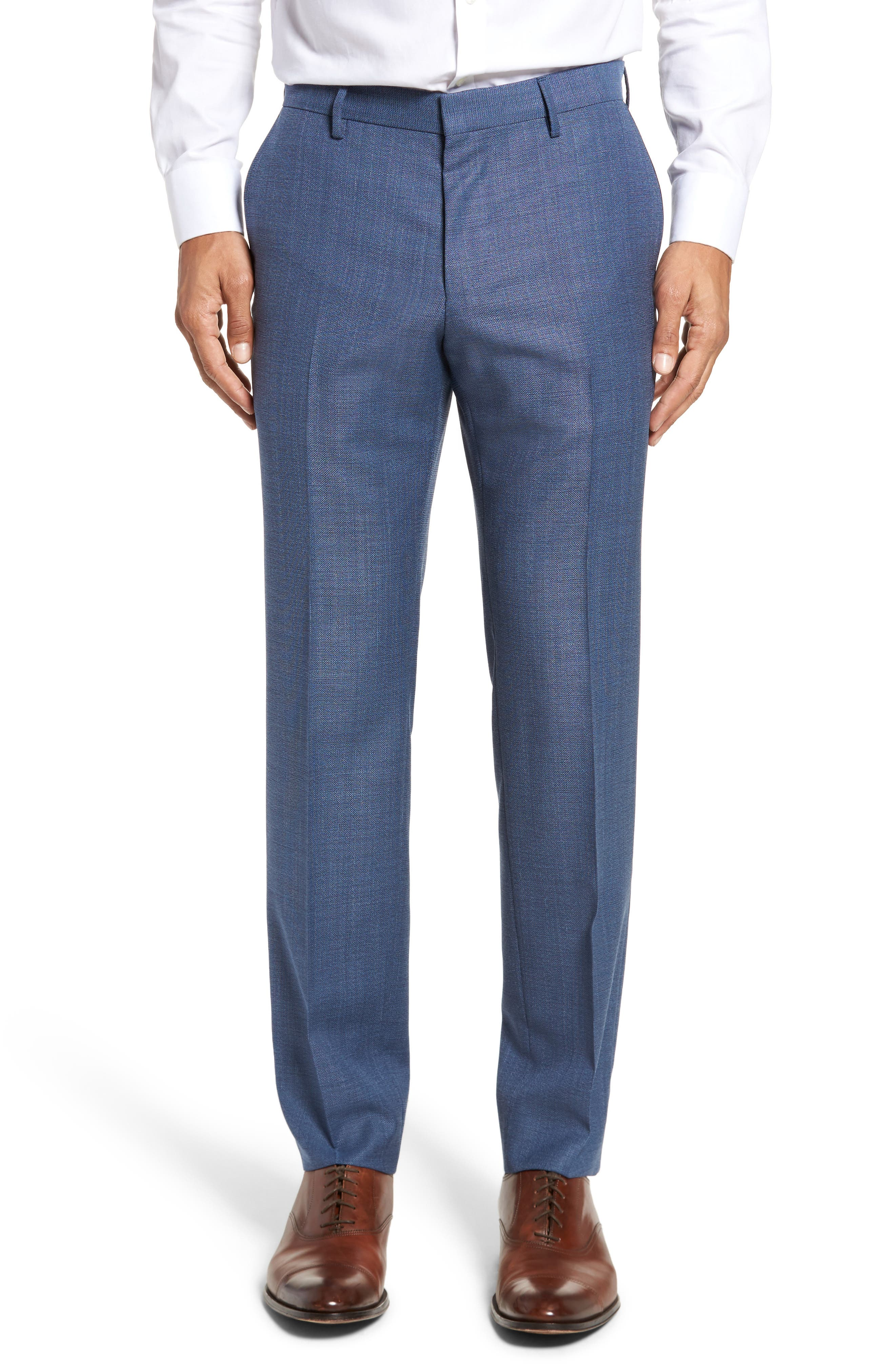 Blake Flat Front Trim Fit Solid Wool Trousers,                         Main,                         color, Medium Blue
