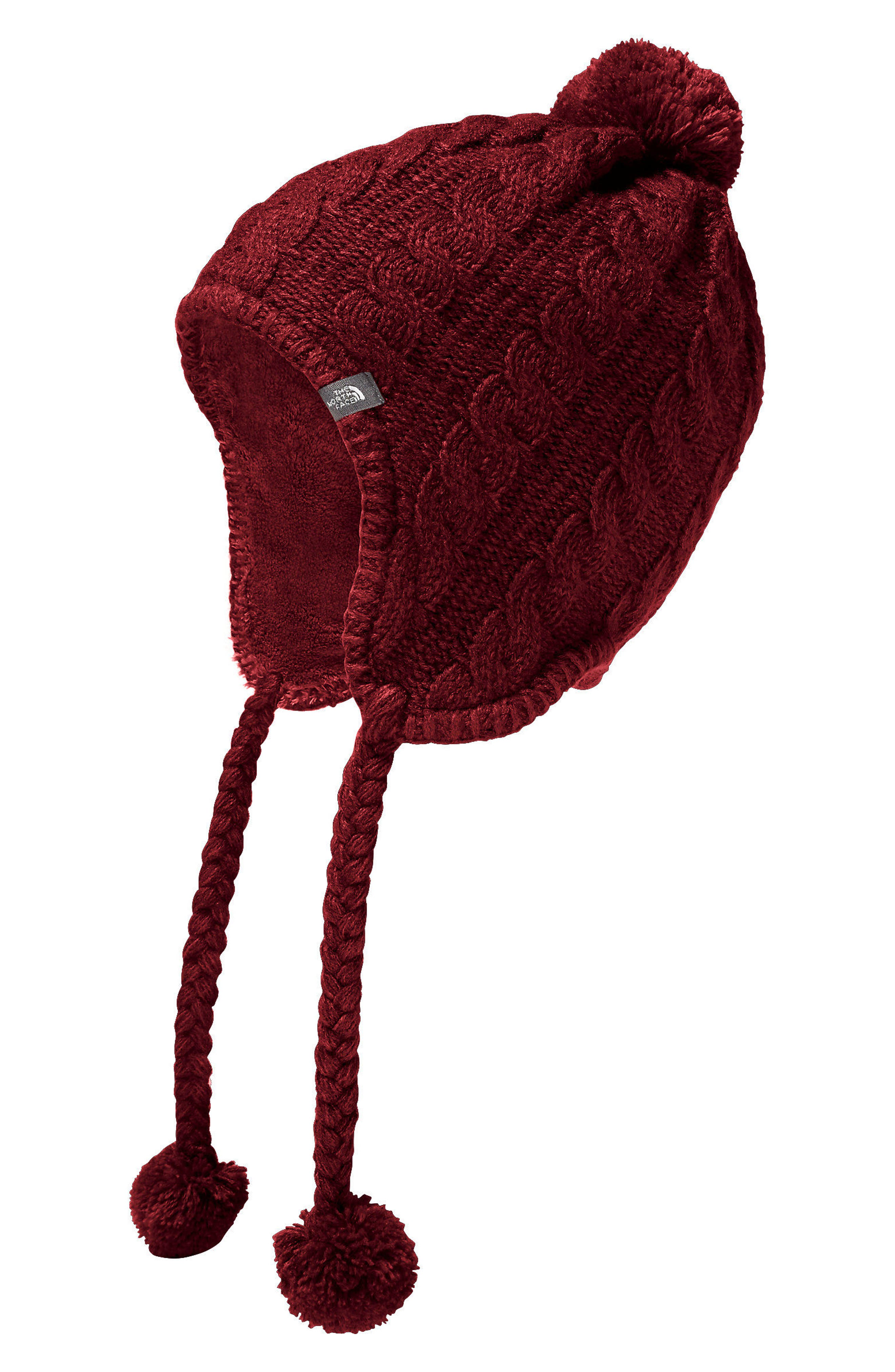 Fuzzy Earflap Beanie,                         Main,                         color, Barolo Red