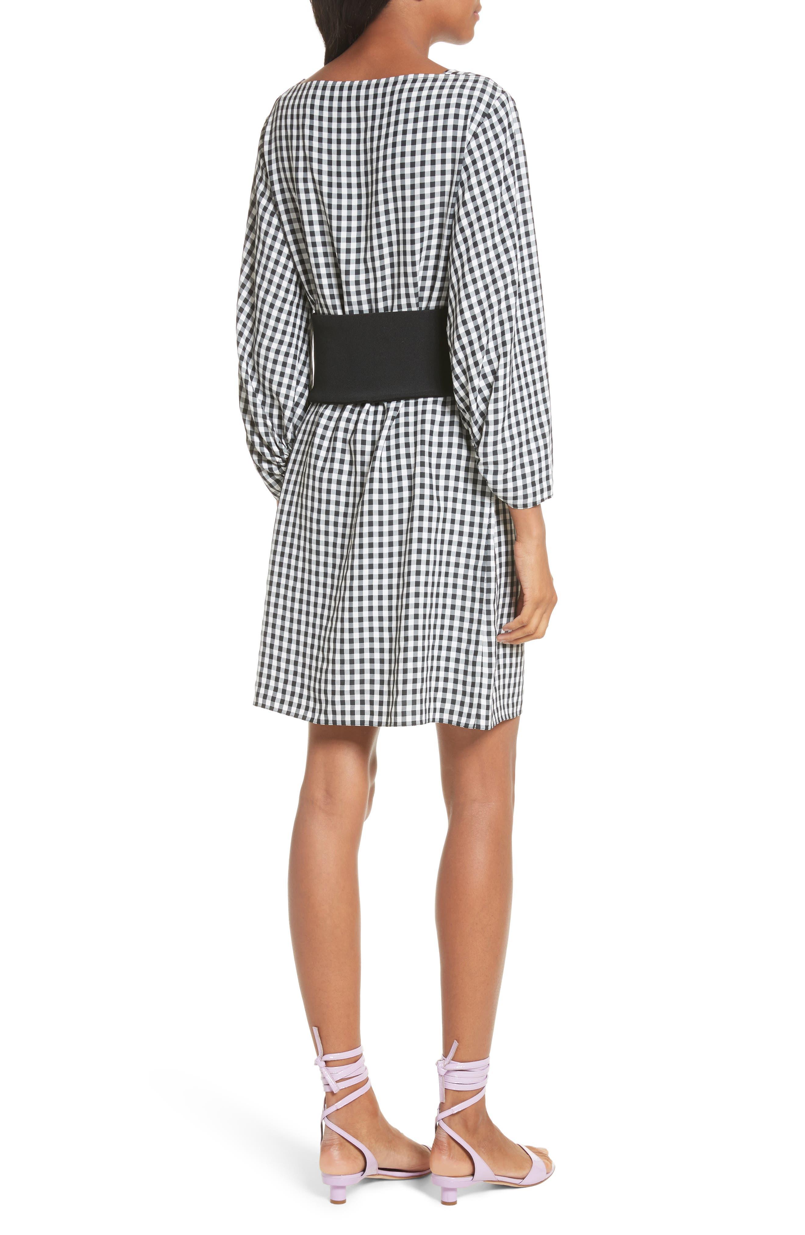 Gingham Corset Dress,                             Alternate thumbnail 2, color,                             Black Multi