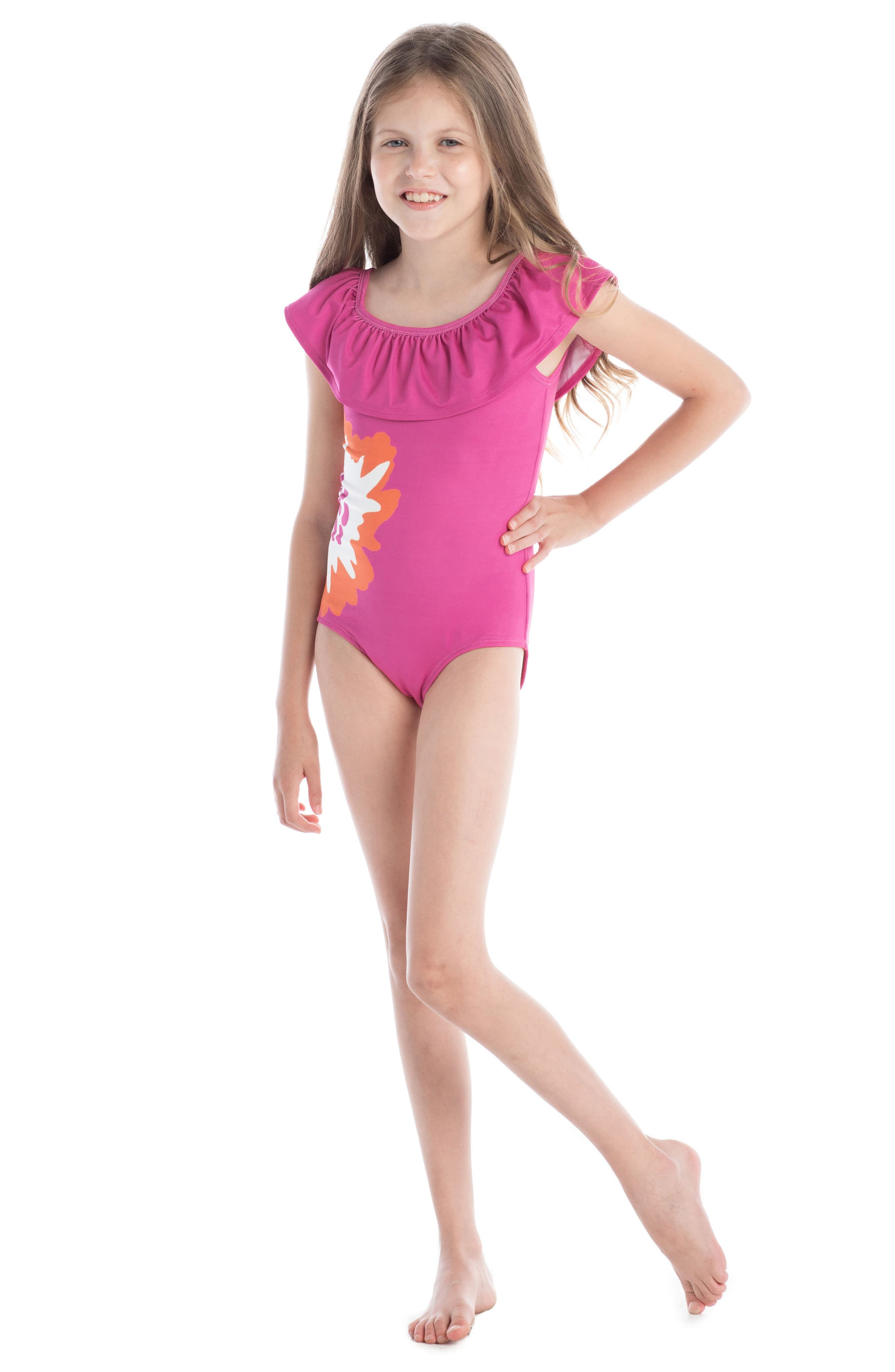 Alternate Image 3  - Masasla Baby Coral Print One-Piece Swimsuit (Toddler Girls)