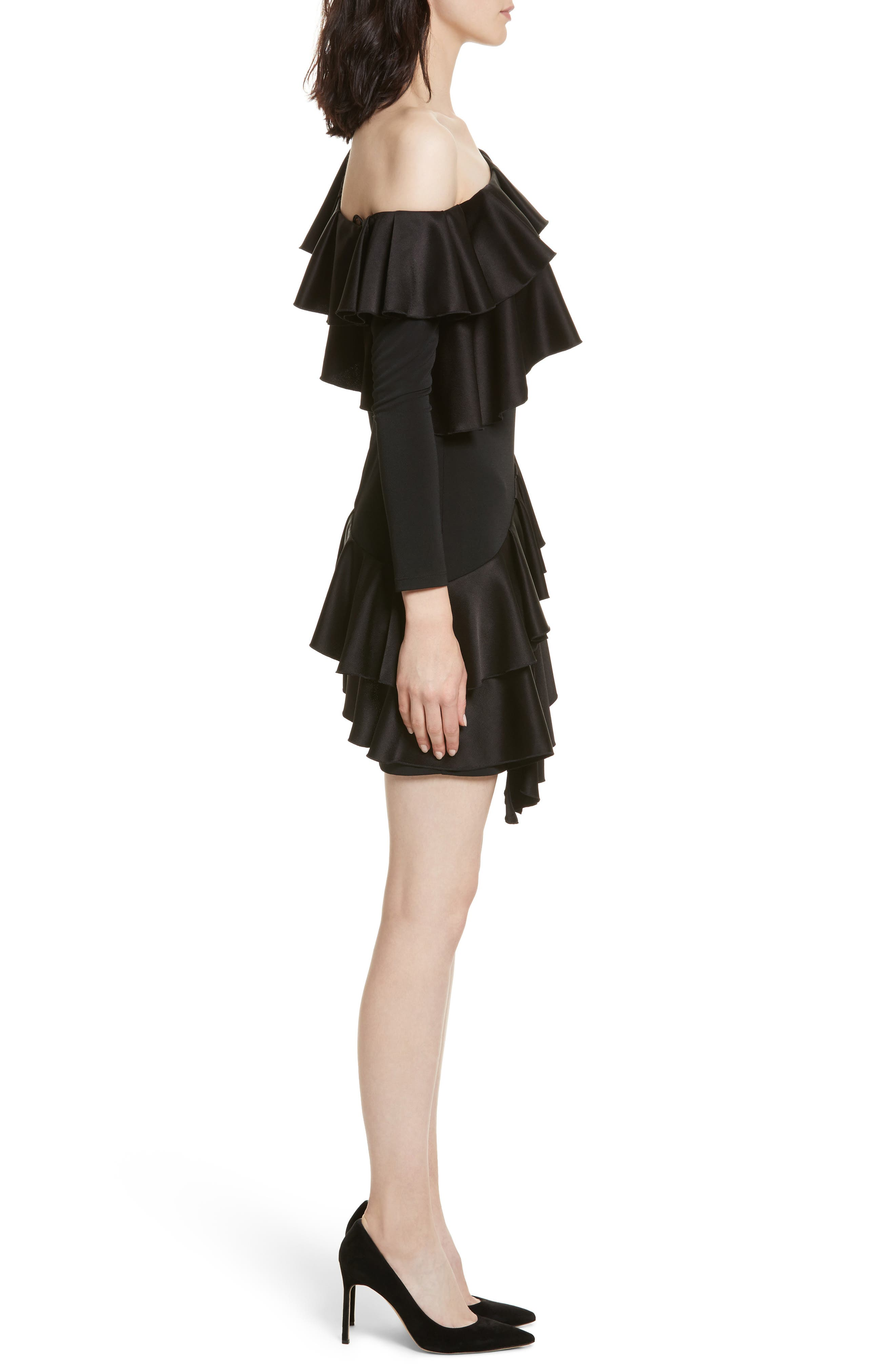 Izzy One-Shoulder Ruffle Dress,                             Alternate thumbnail 3, color,                             Black