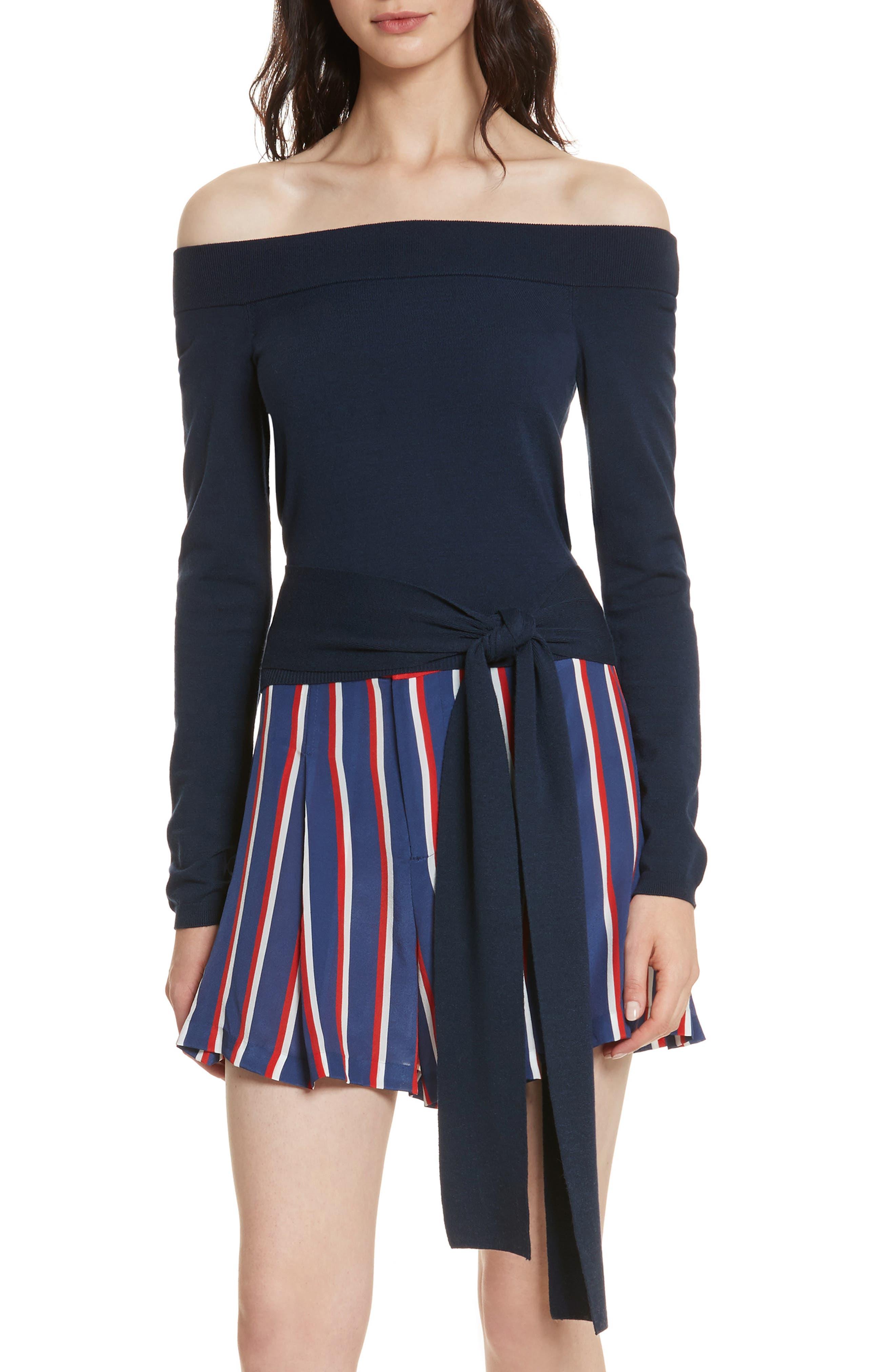 Alice + Olivia Lilian Off the Shoulder Long Tie Sweater