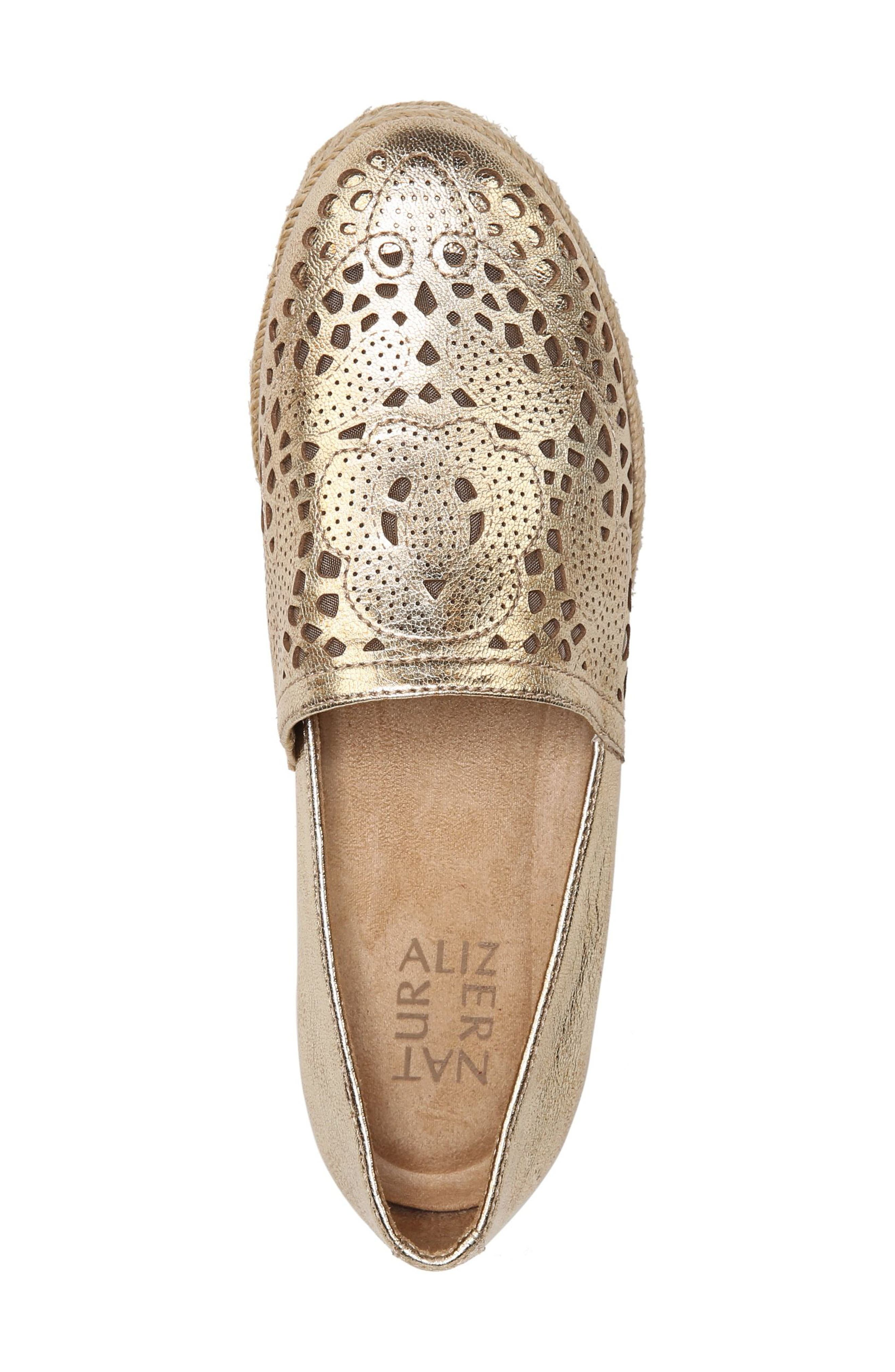 Thea Perforated Platform Espadrille,                             Alternate thumbnail 7, color,                             Platino Leather