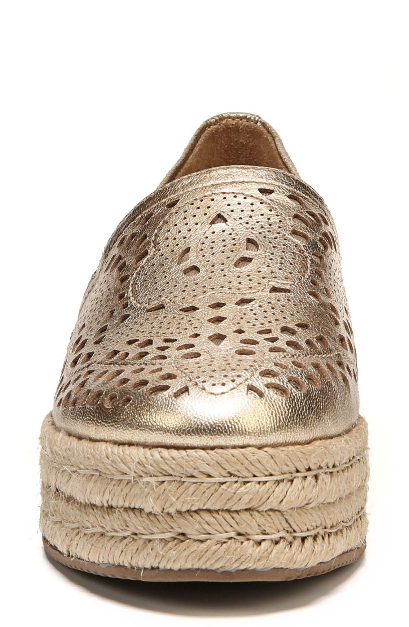Thea Perforated Platform Espadrille,                             Alternate thumbnail 5, color,                             Platino Leather