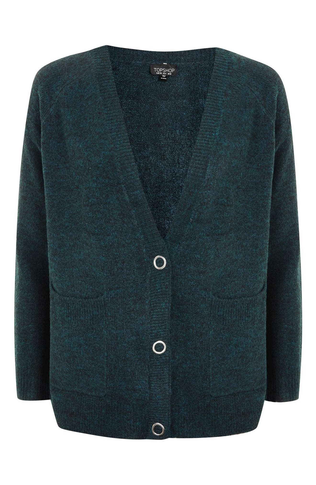 Snap Front Marled Cardigan,                             Alternate thumbnail 4, color,                             Teal