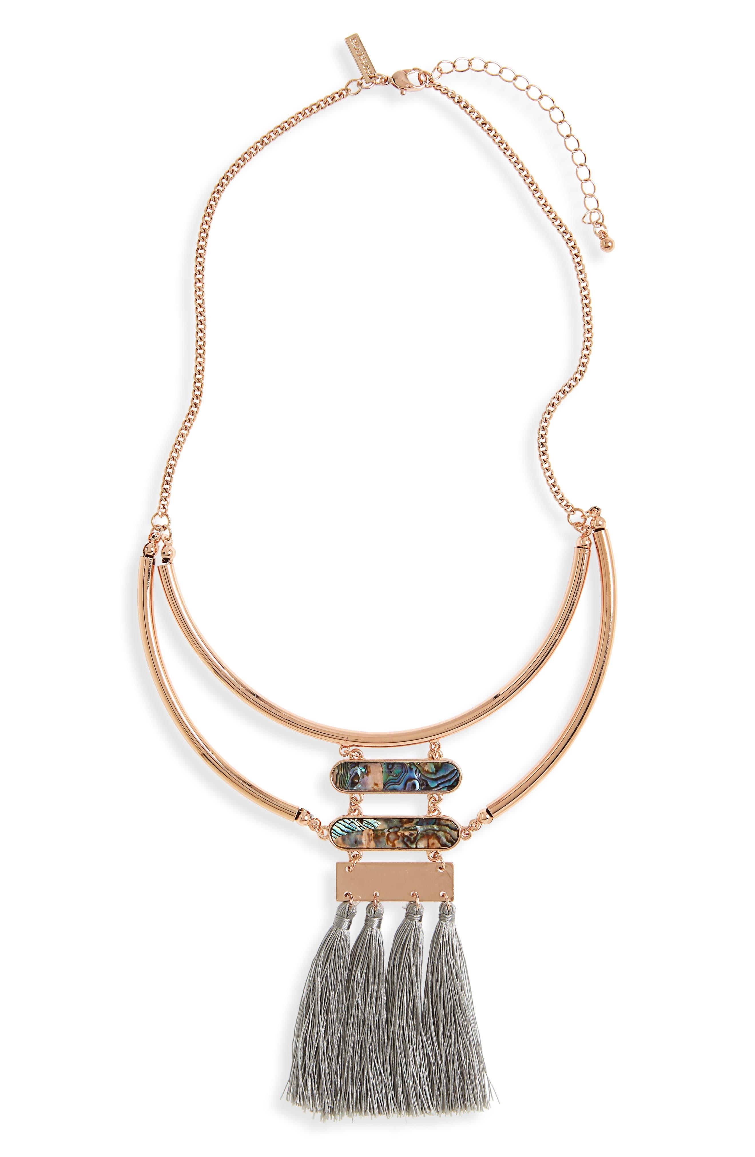 Abalone & Tassel Bib Necklace,                         Main,                         color, Green Multi
