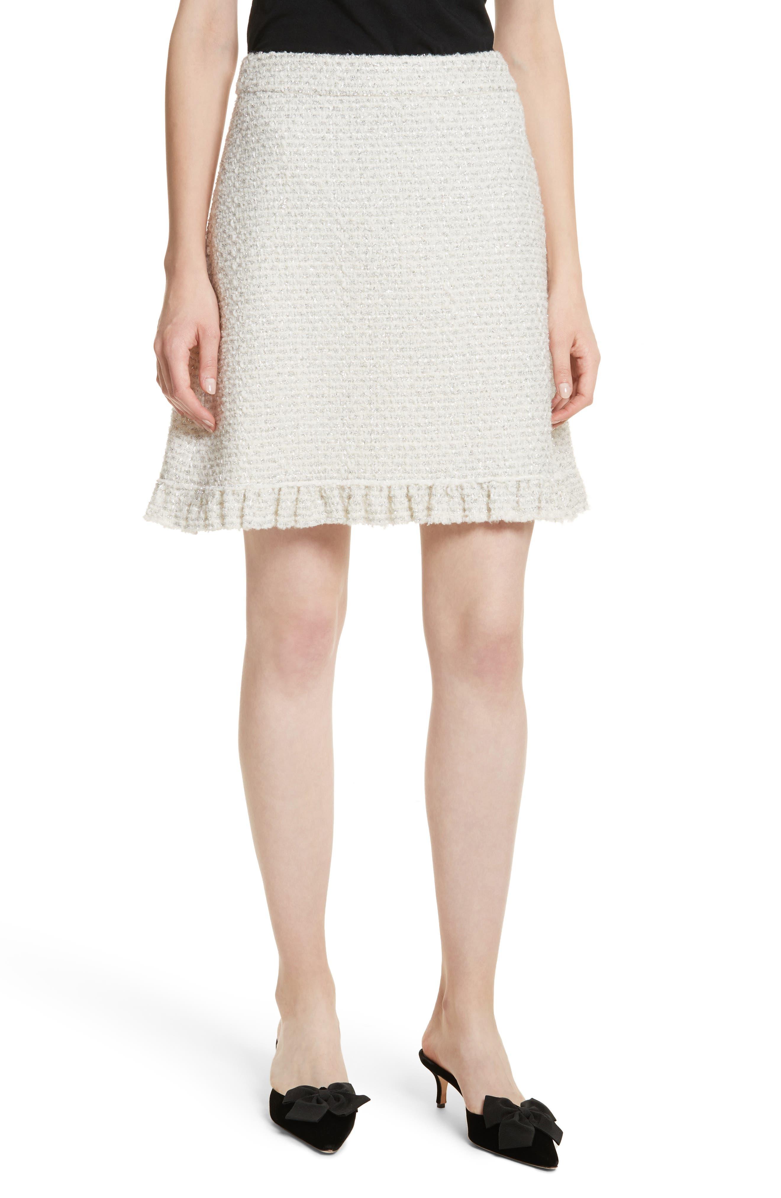 sparkle tweed skirt,                         Main,                         color, Cream