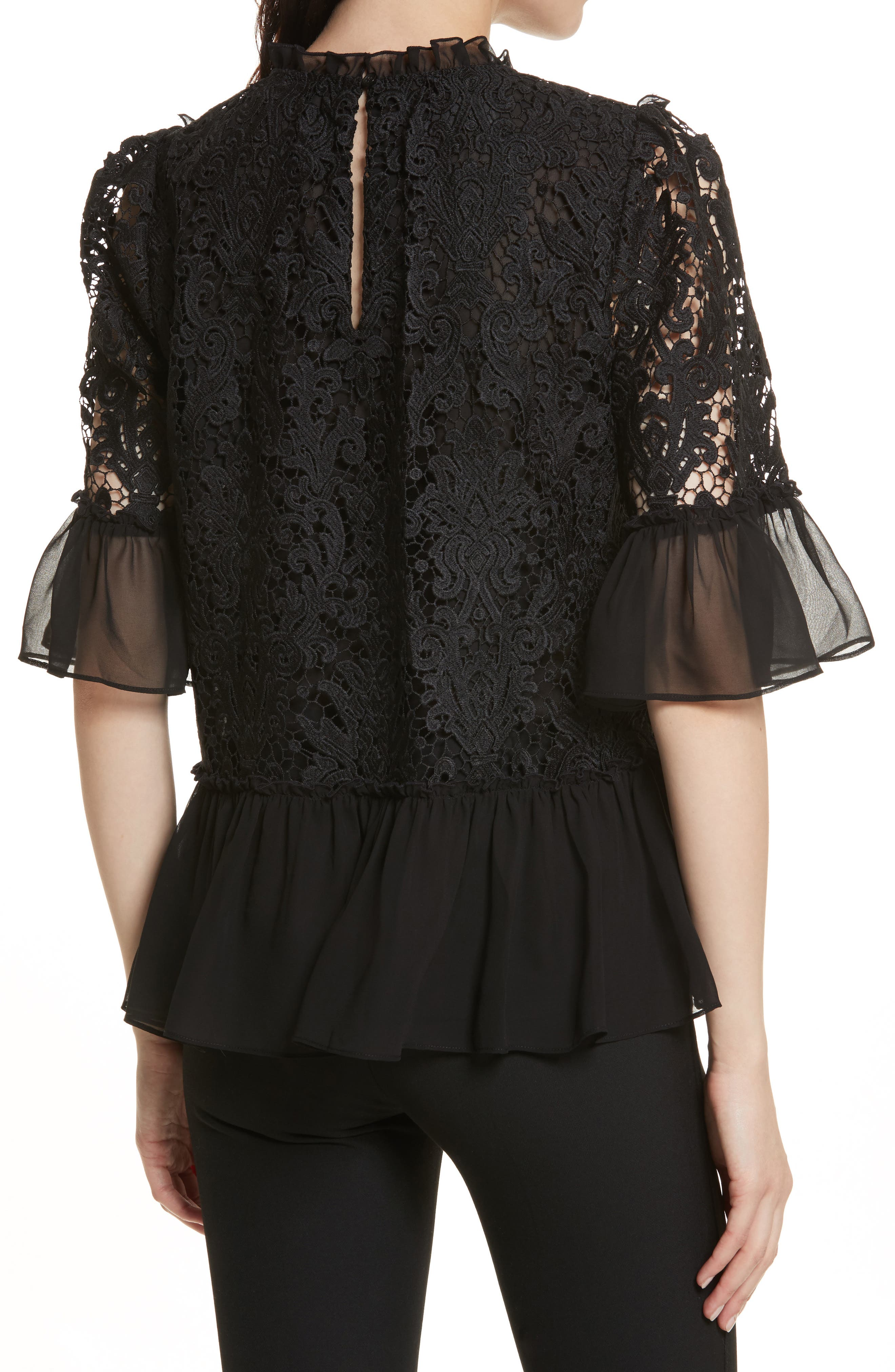 kate spade tapestry lace top,                             Alternate thumbnail 2, color,                             Black