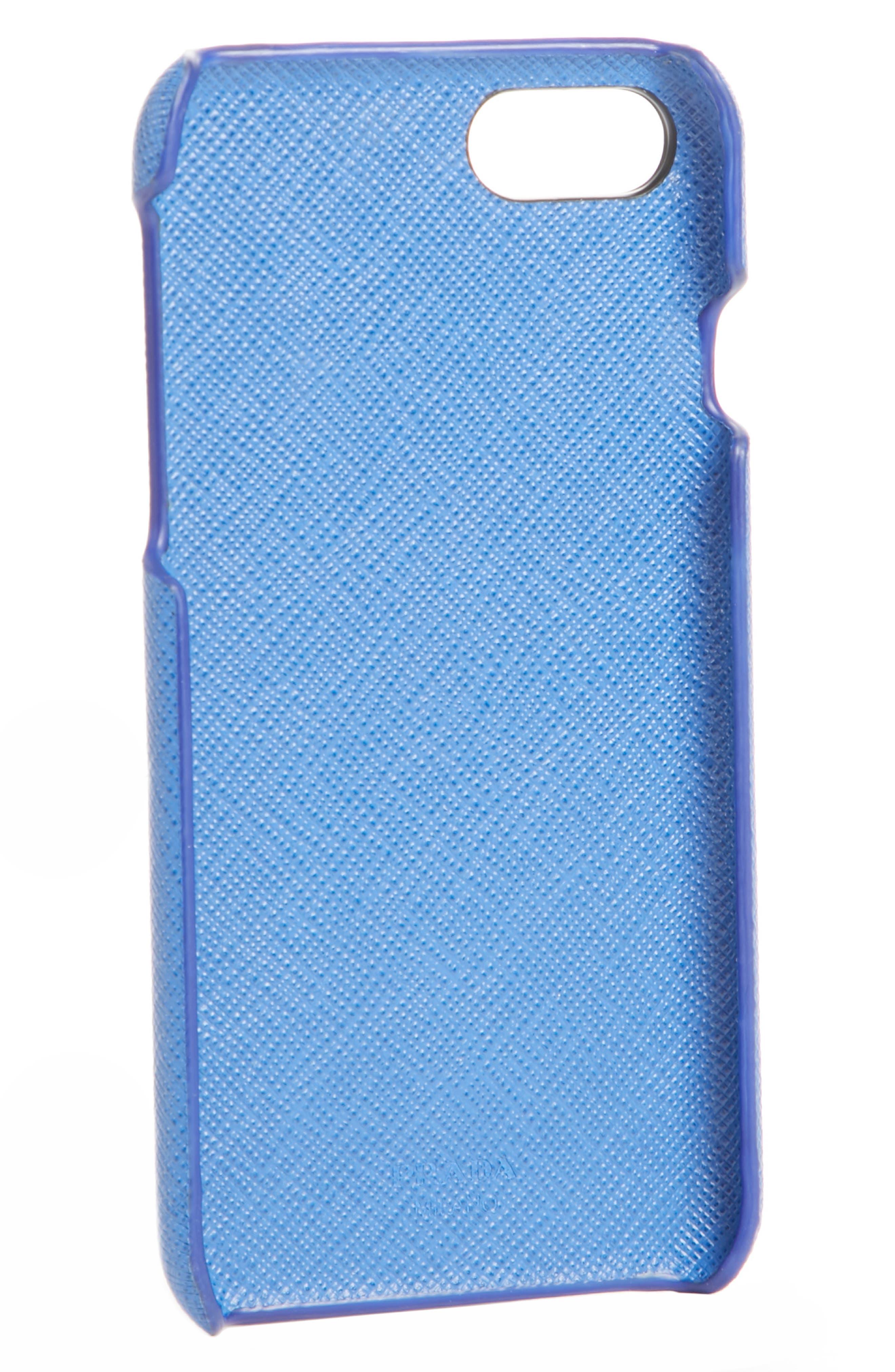 Saffiano Metal Oro iPhone 7 Case,                             Alternate thumbnail 2, color,                             Azzurro
