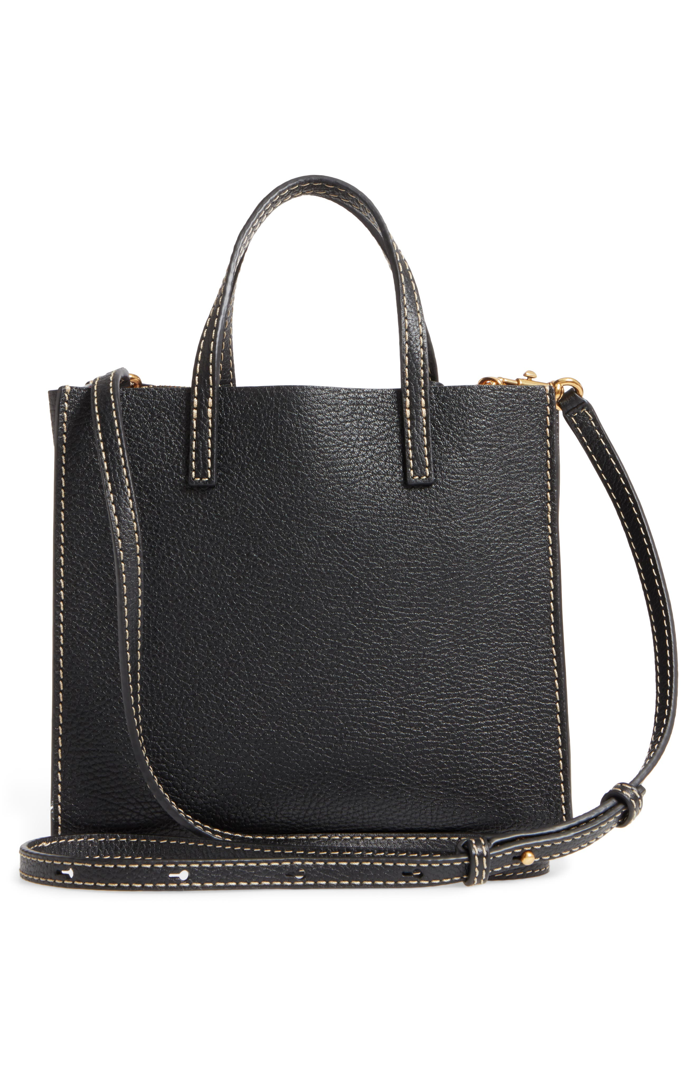 The Grind Mini Colorblock Leather Tote,                             Alternate thumbnail 3, color,                             Black/ Gold