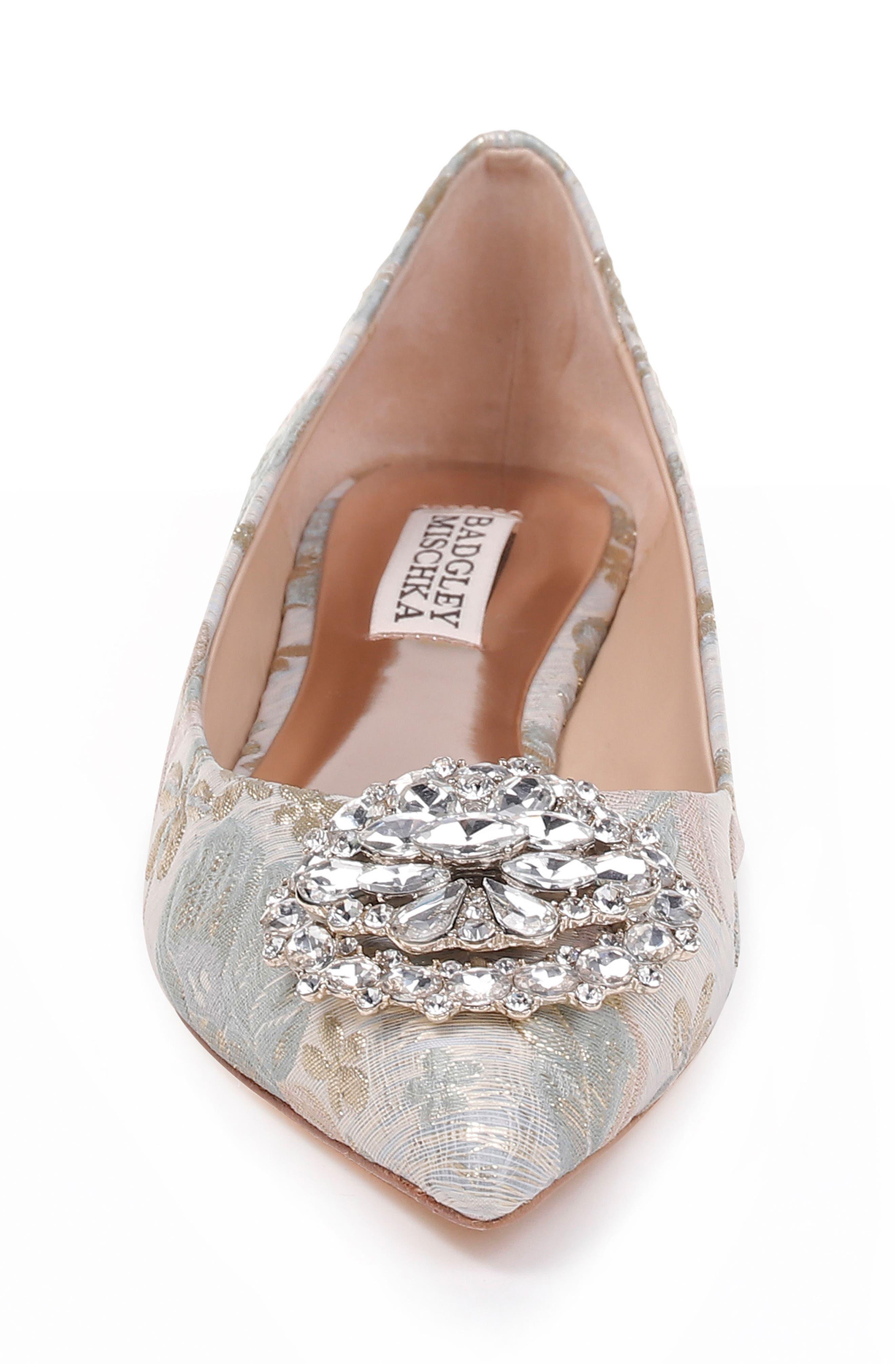 'Davis' Crystal Embellished Pointy Toe Flat,                             Alternate thumbnail 4, color,                             Platino Brocade Fabric