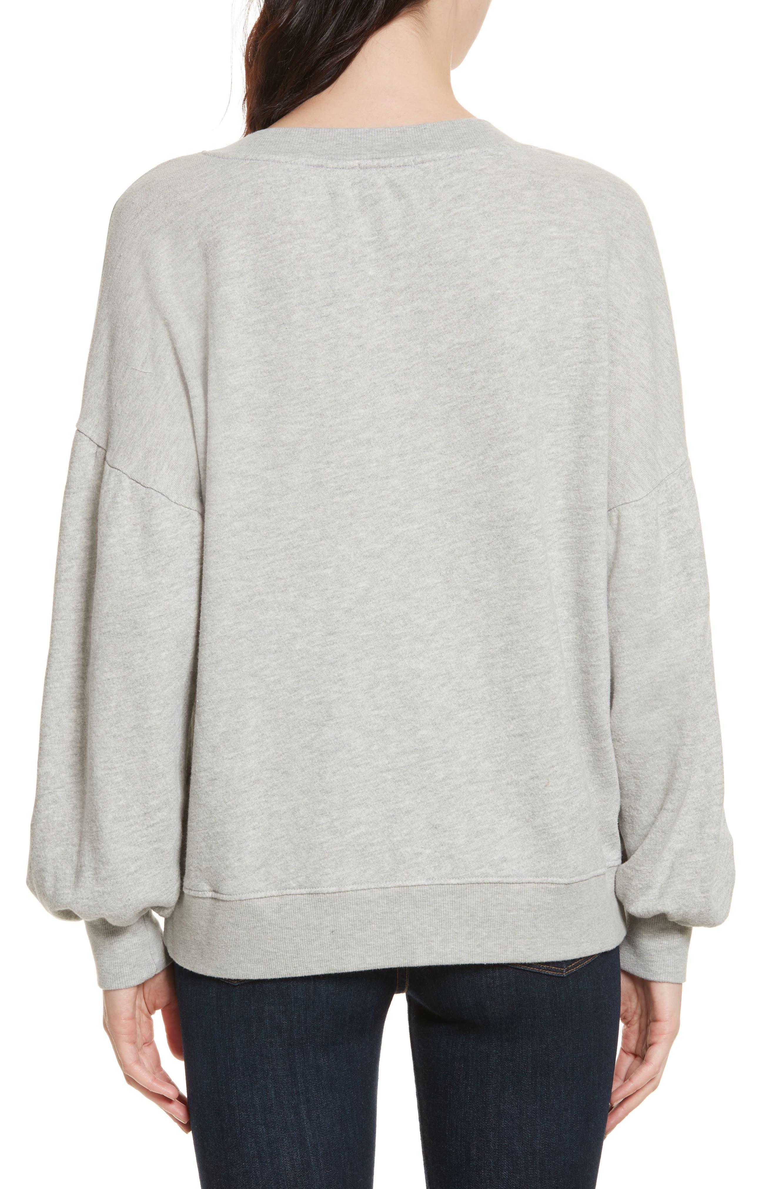 Isae Bishop Sleeve Sweatshirt,                             Alternate thumbnail 2, color,                             Heather Grey