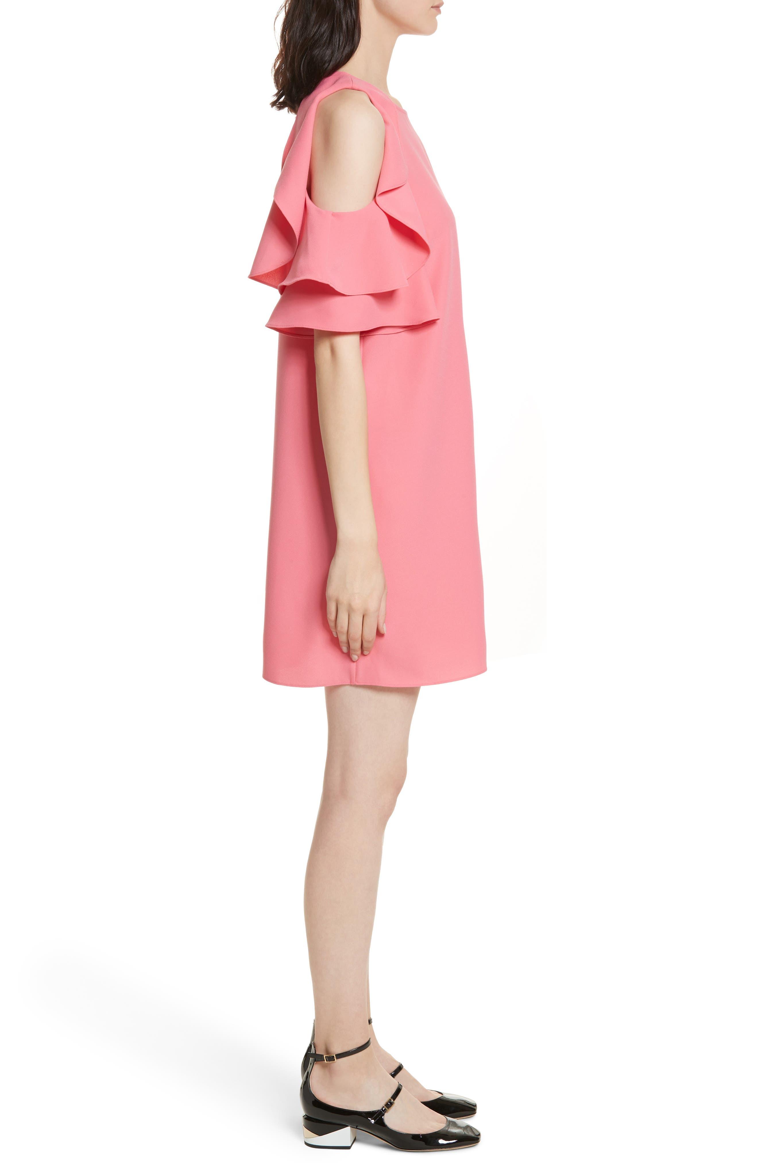cold shoulder shift dress,                             Alternate thumbnail 3, color,                             Petunia
