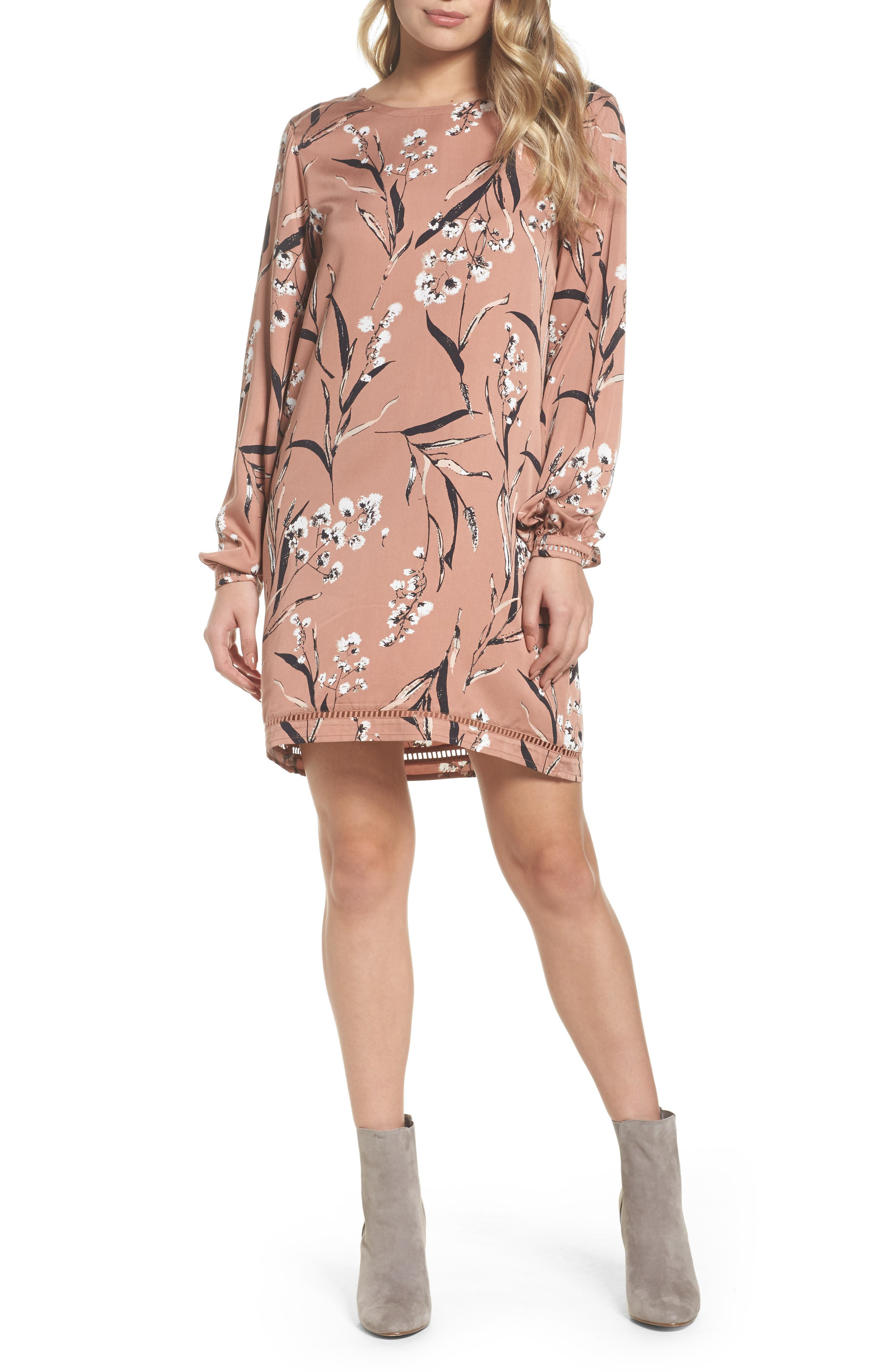 Victoria Shift Dress,                             Main thumbnail 1, color,                             Nude In Bloom