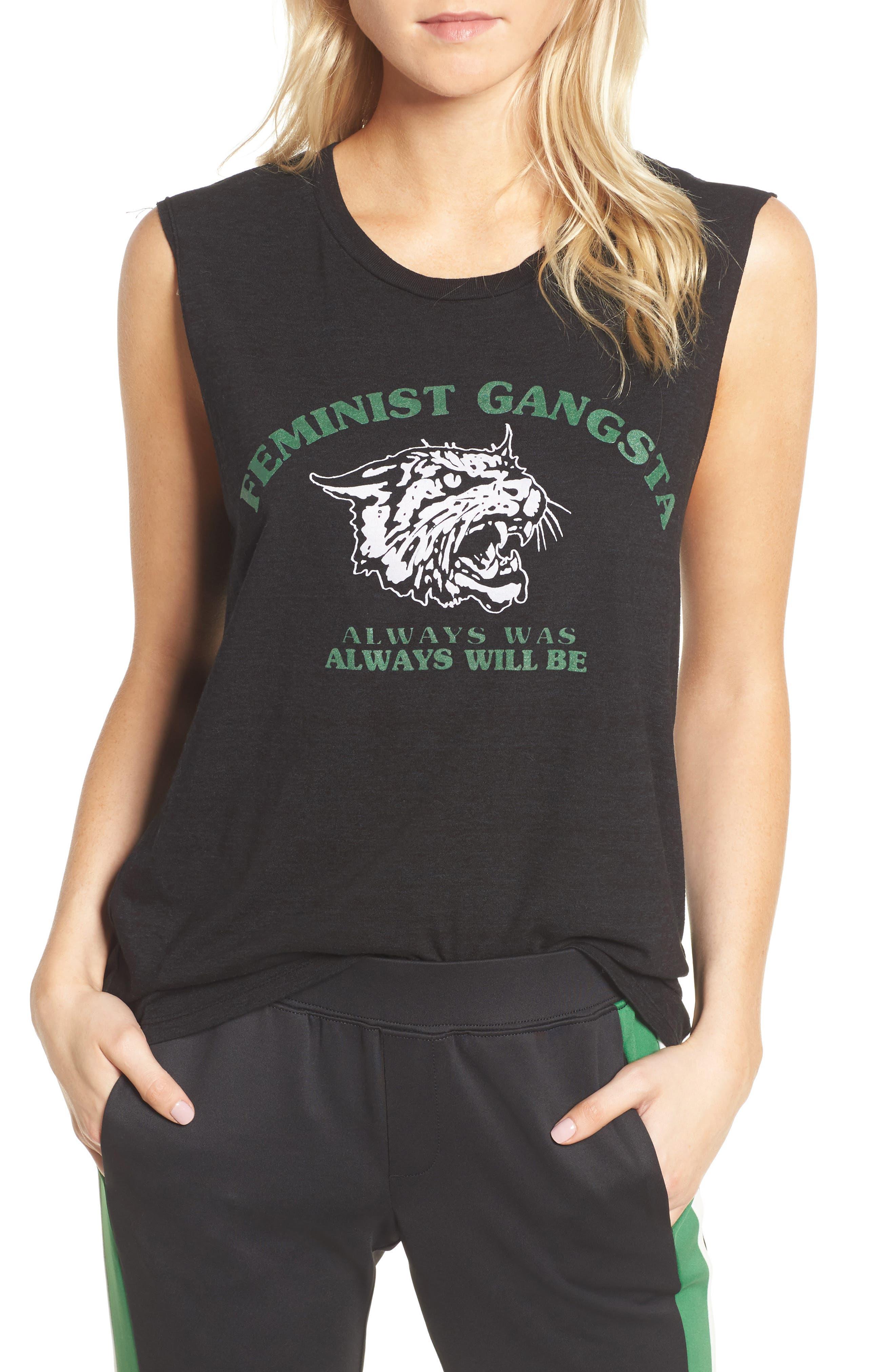 Feminist Gangsta Muscle Tank,                         Main,                         color, Black