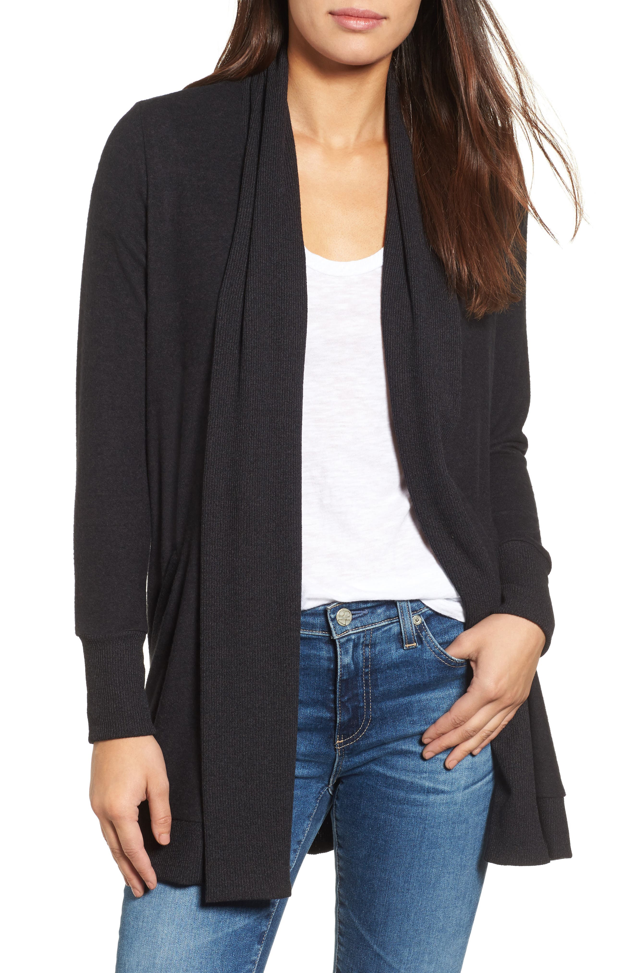 Cozy Ribbed Cardigan,                         Main,                         color, Charcoal
