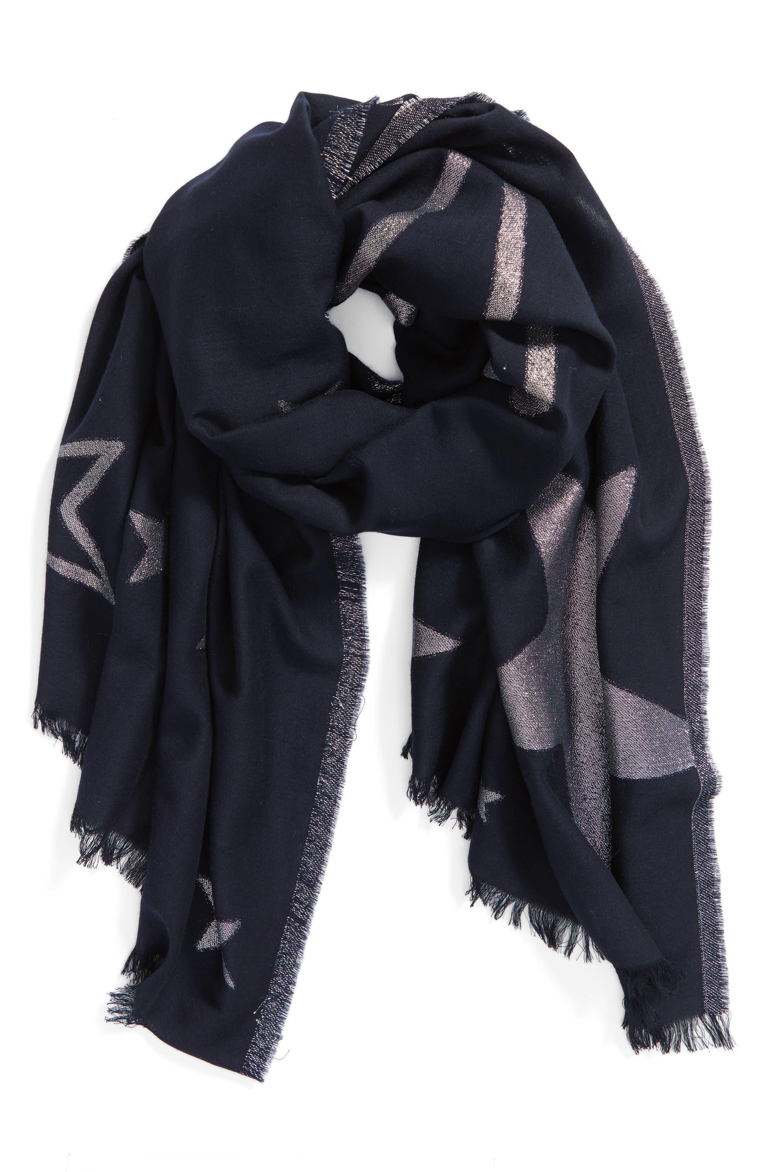 starry sky oblong scarf,                             Alternate thumbnail 3, color,                             Rich Navy