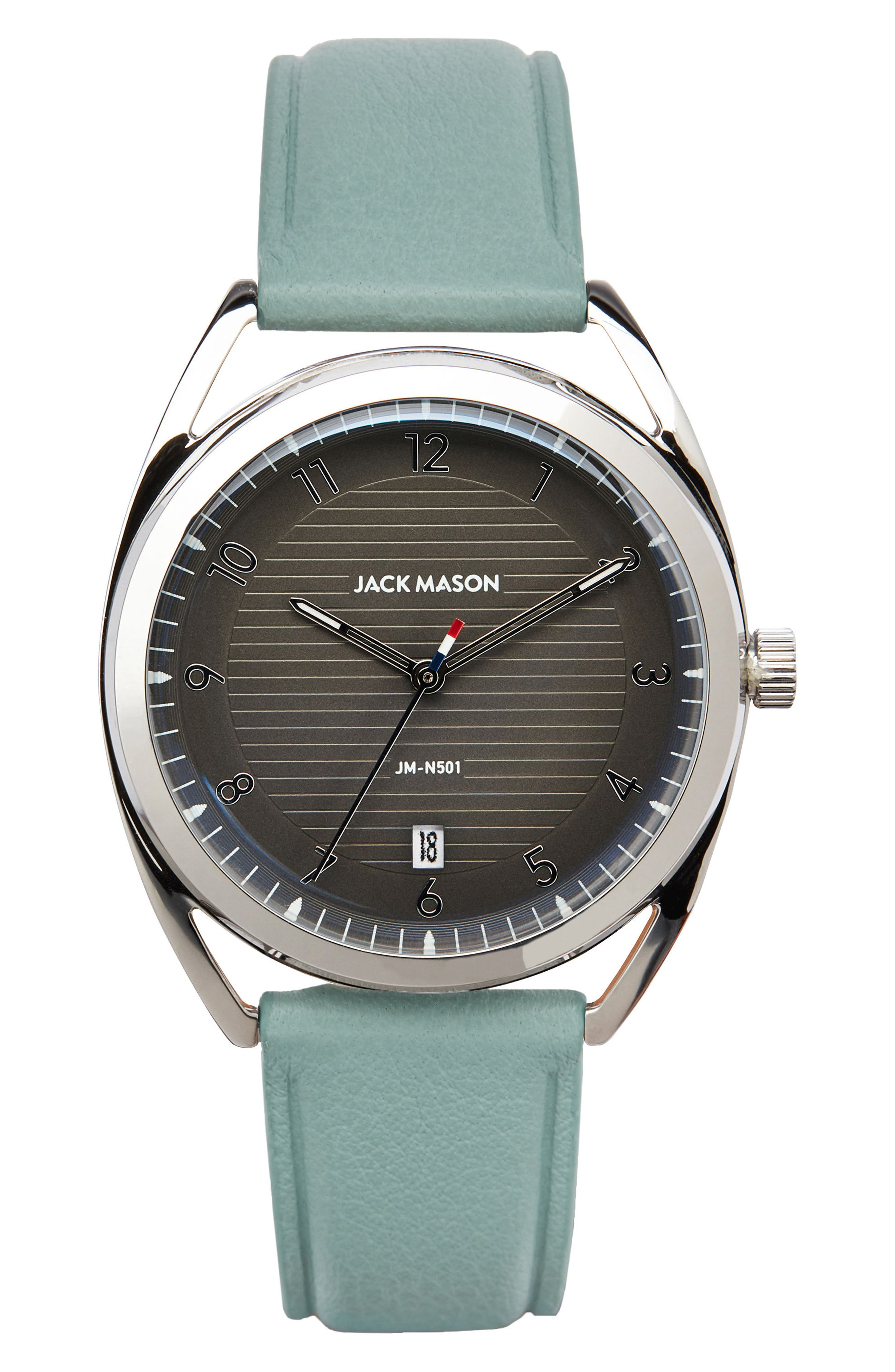 Deck Leather Strap Watch, 36mm,                         Main,                         color, Mint/ Grey/ Silver
