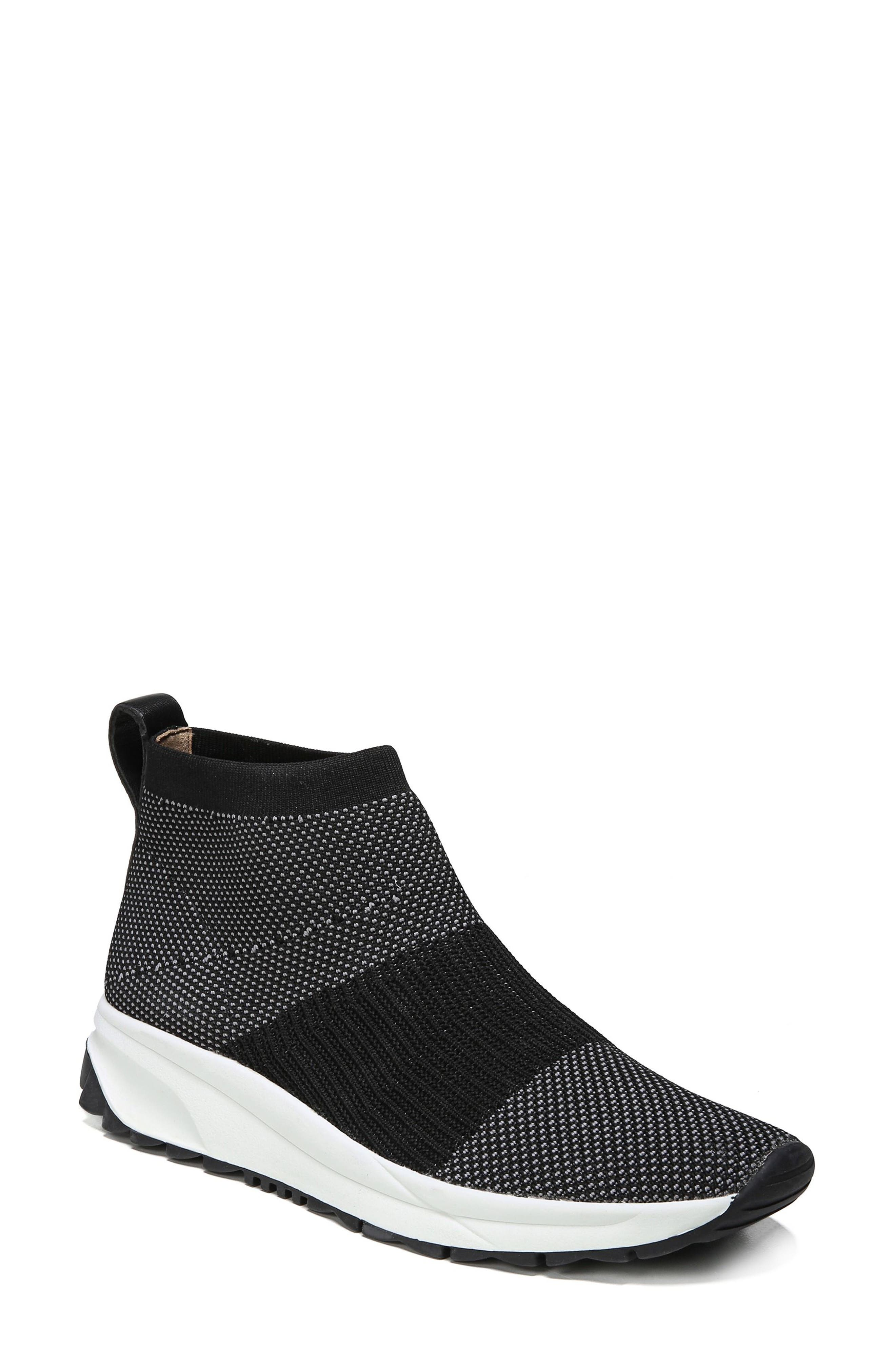 Selena Sneaker Boot,                         Main,                         color, Black Stretch Fabric