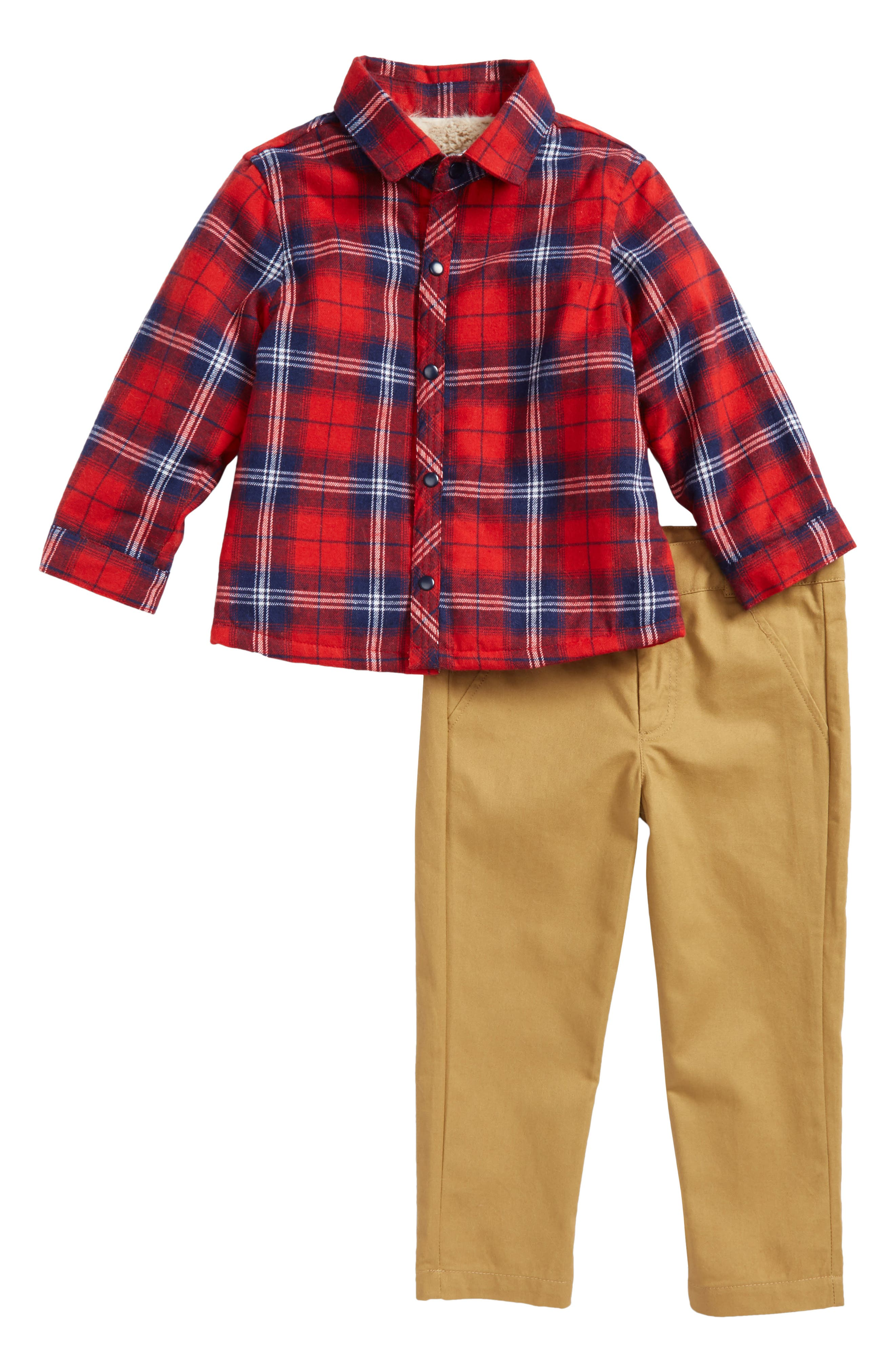 Main Image - Little Brother by Pippa & Julie Plaid Faux Fur Lined Shirt & Pants Set (Baby Boys)