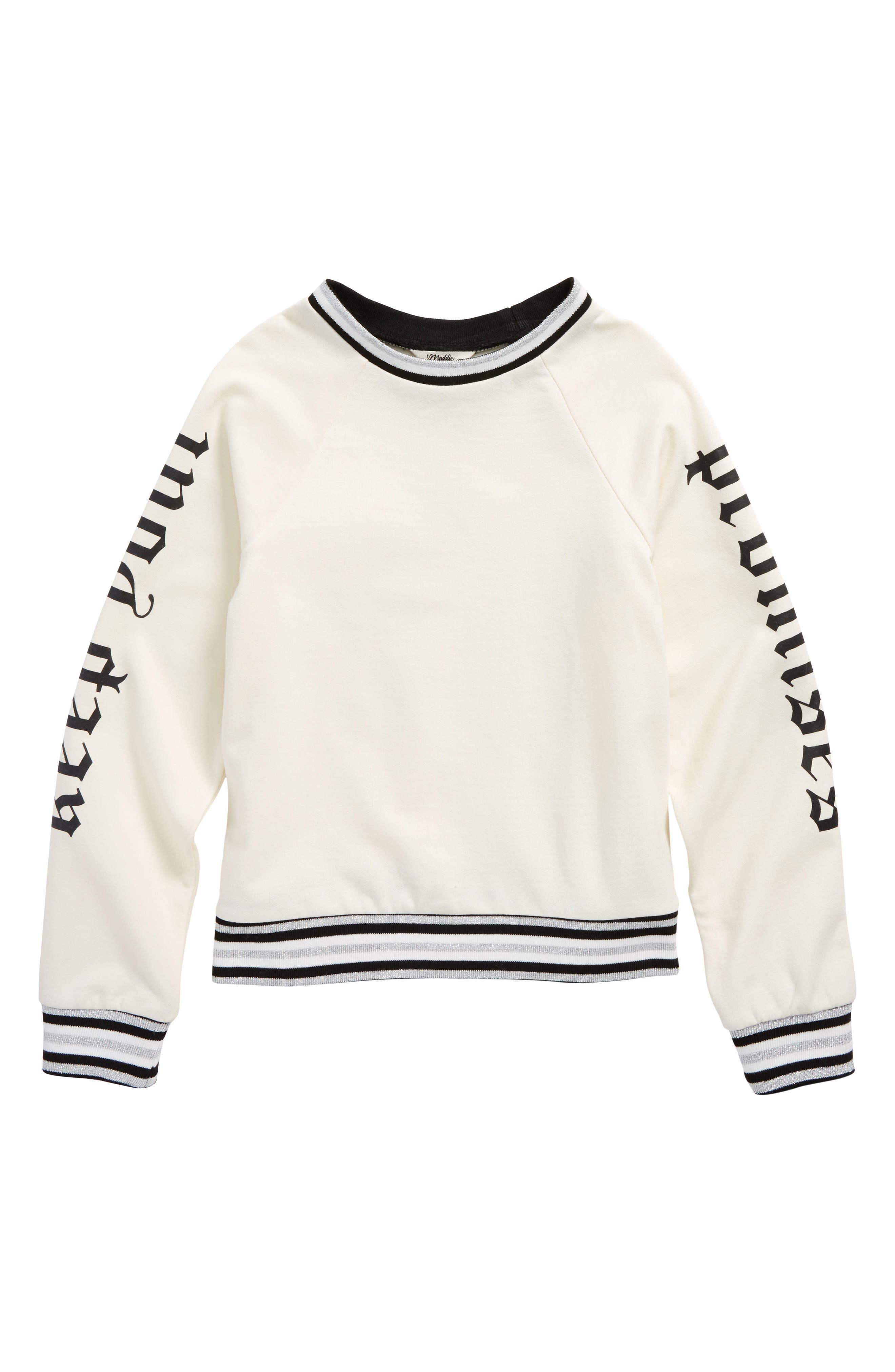 Main Image - Maddie Keep Your Promises Graphic Sweatshirt (Big Girls)