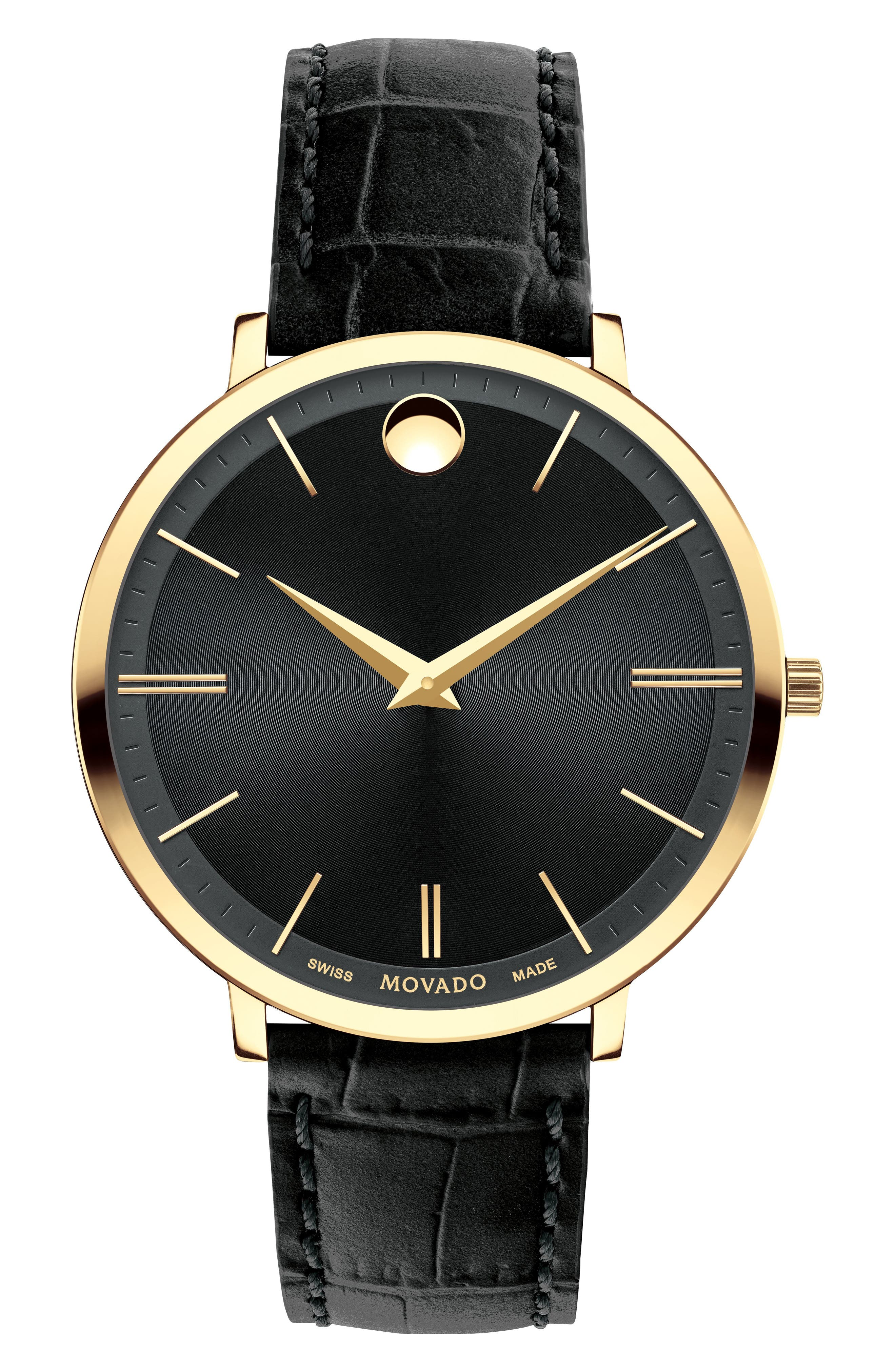 Bold Metals Leather Strap Watch, 35mm,                         Main,                         color, Black/ Gold