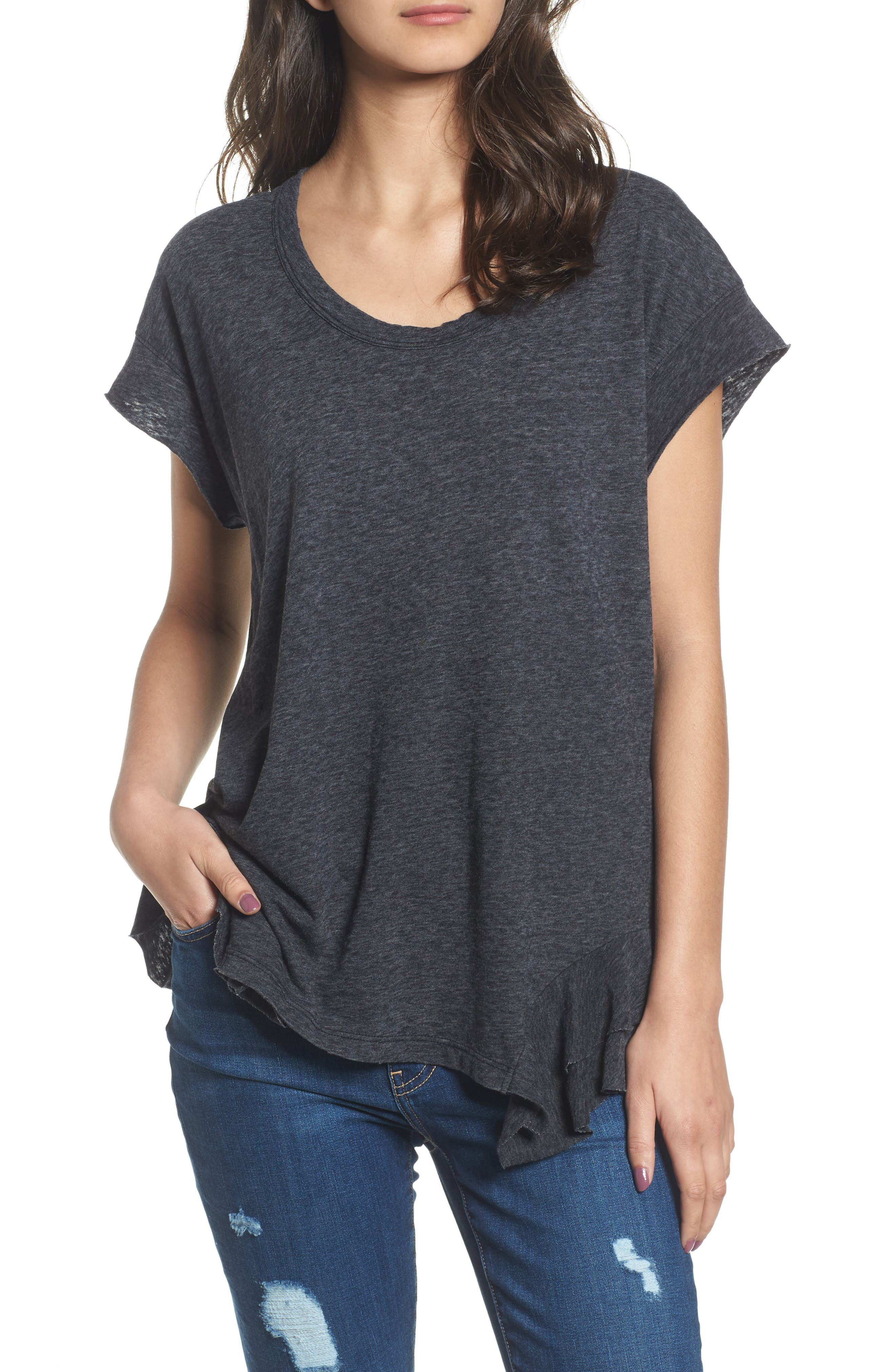 The Tier Ruffle Tee,                         Main,                         color, Charcoal With Destroy Hem